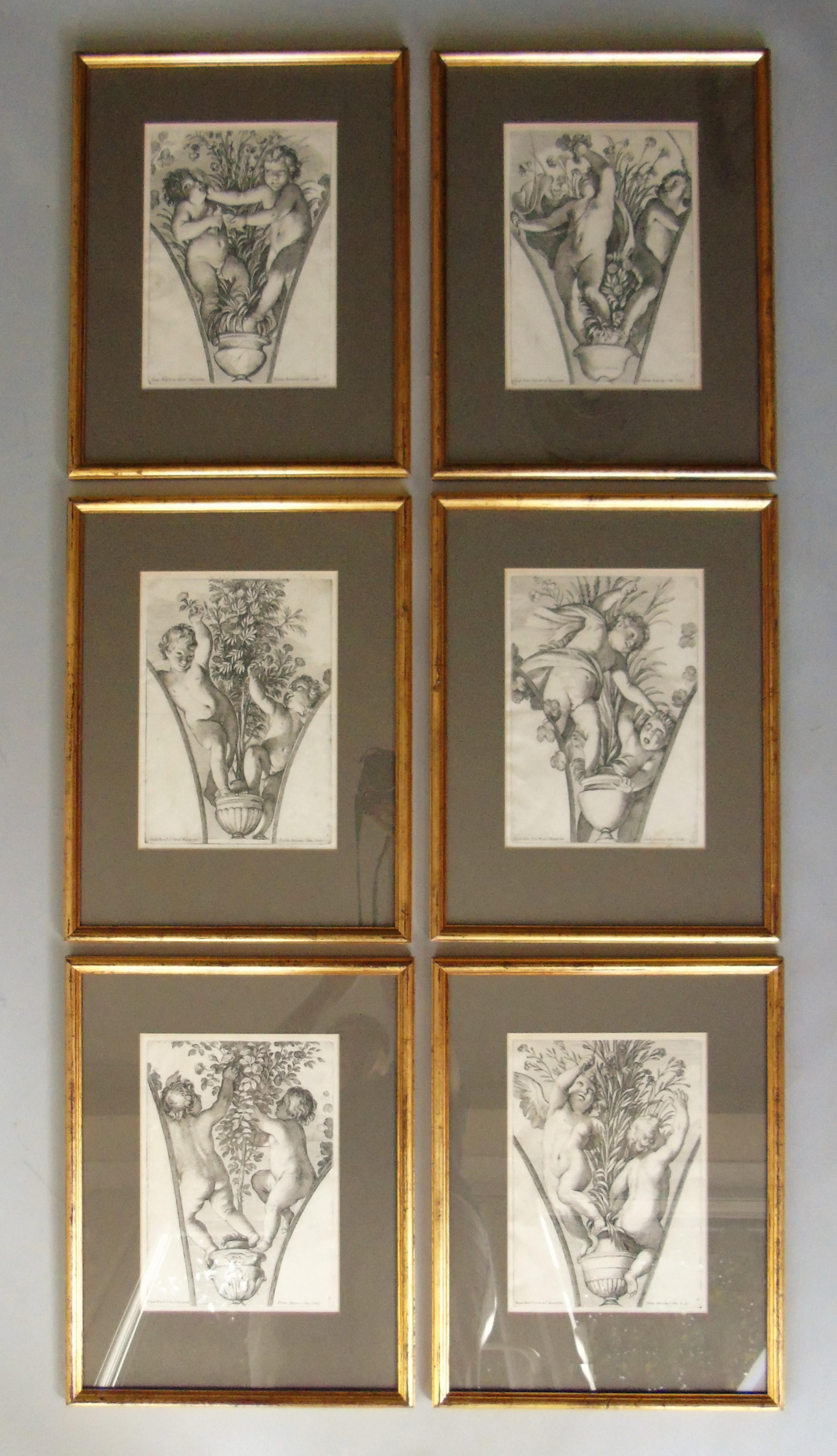 set of six antique engravings cherubs after petrus antonius cotta