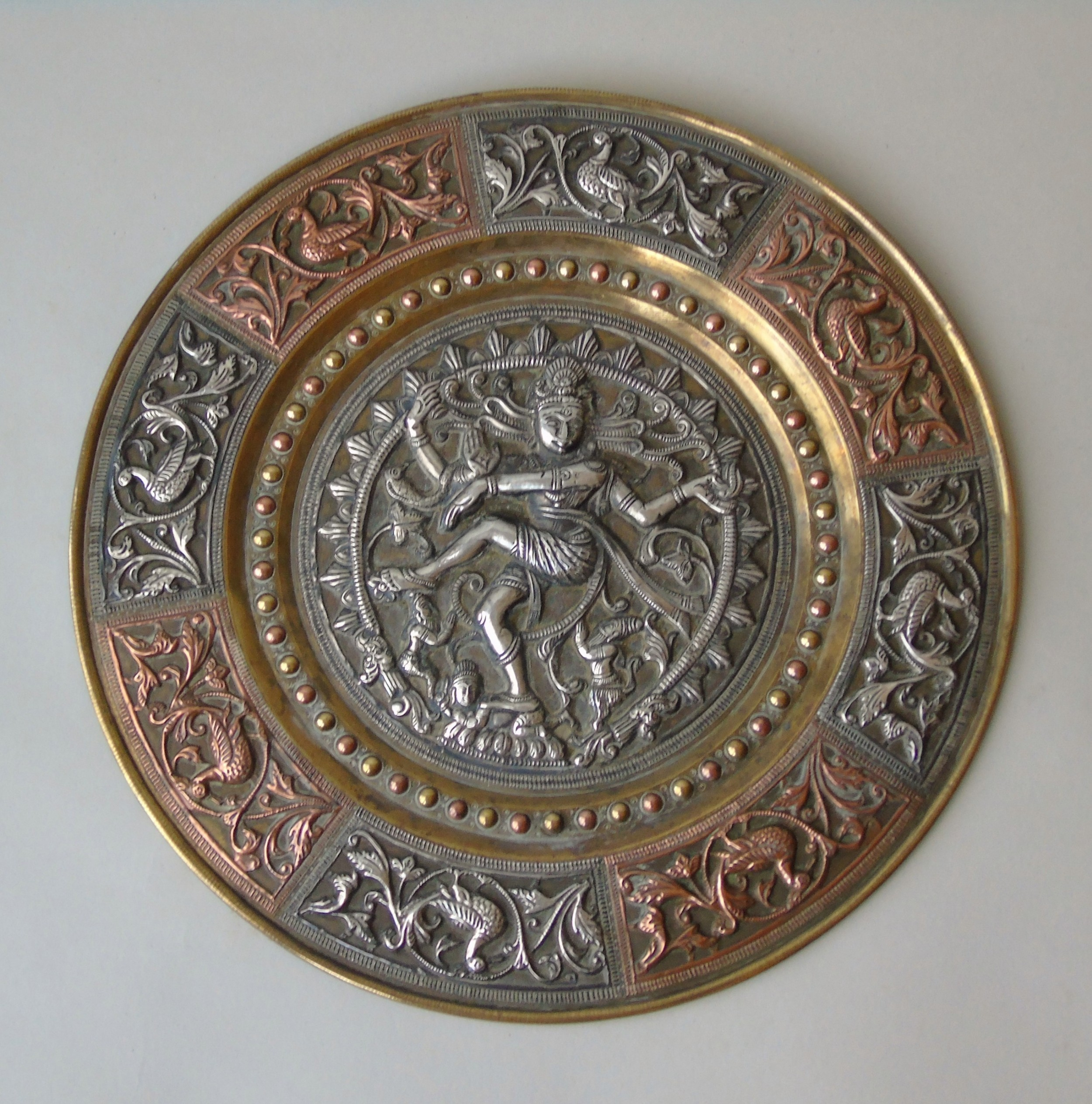 antique indian charger with silver copper brass shiva deity