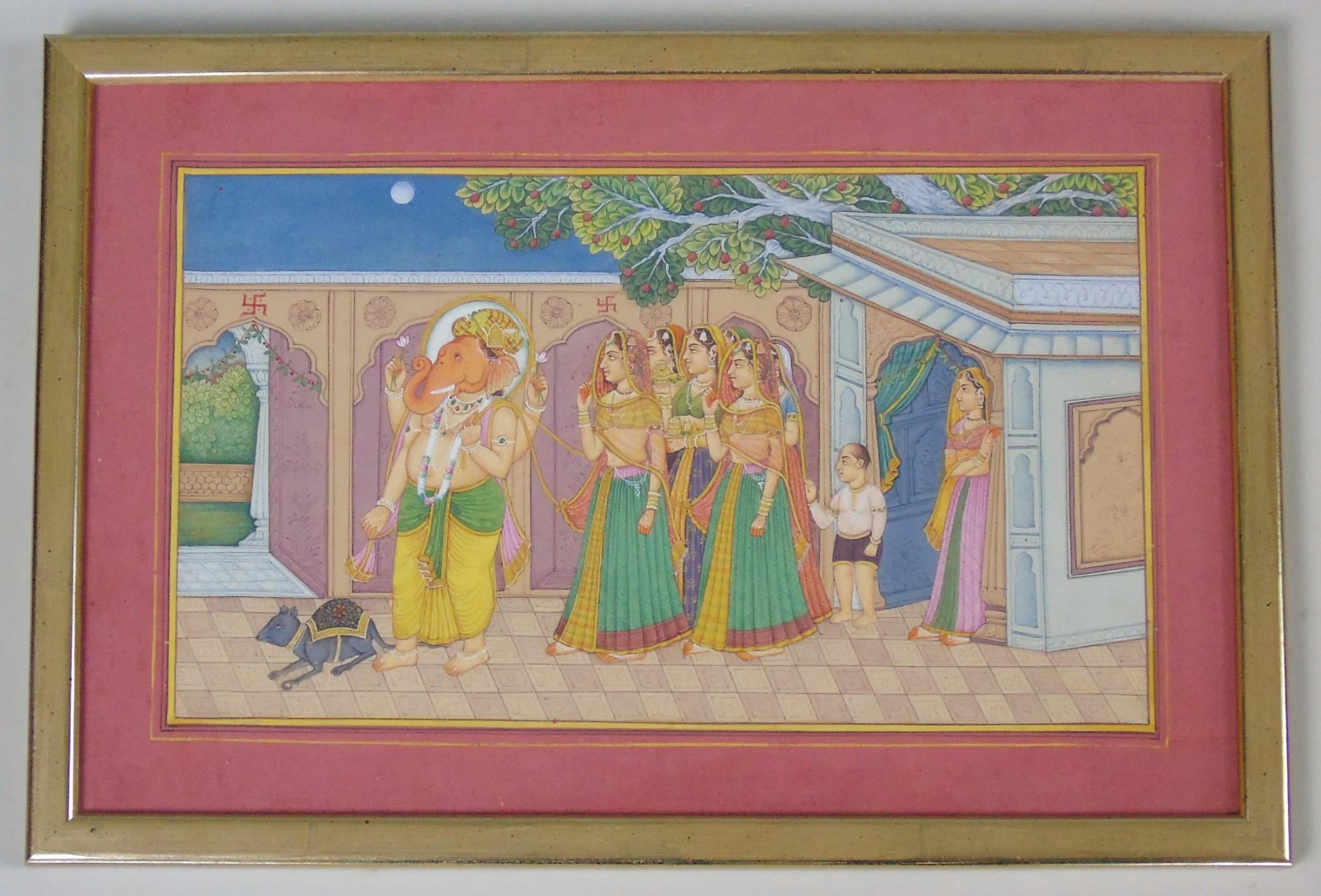 antique indian gouache painting rajasthan 19th century ganesha