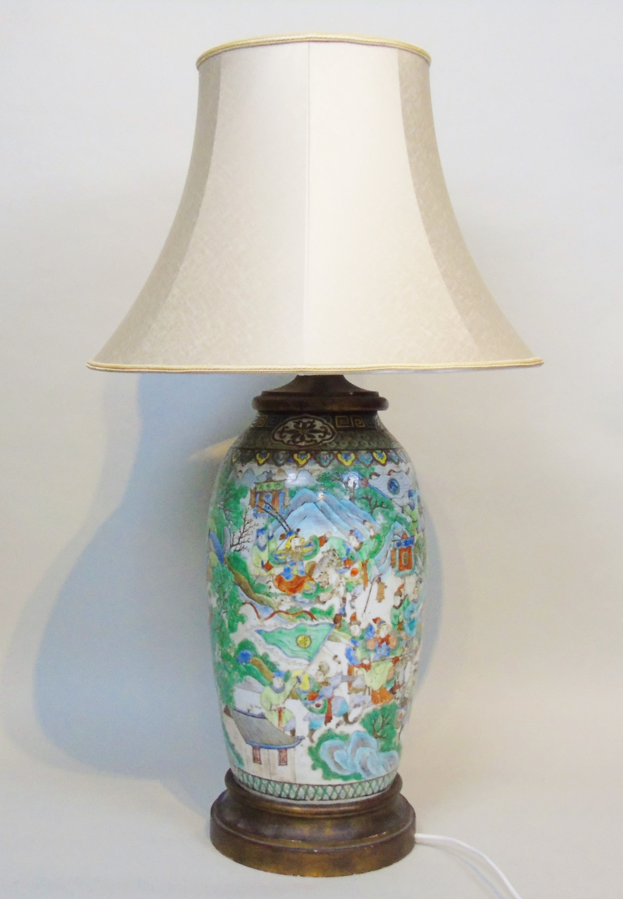 large 19th century chinese famille vert porcelain lamp