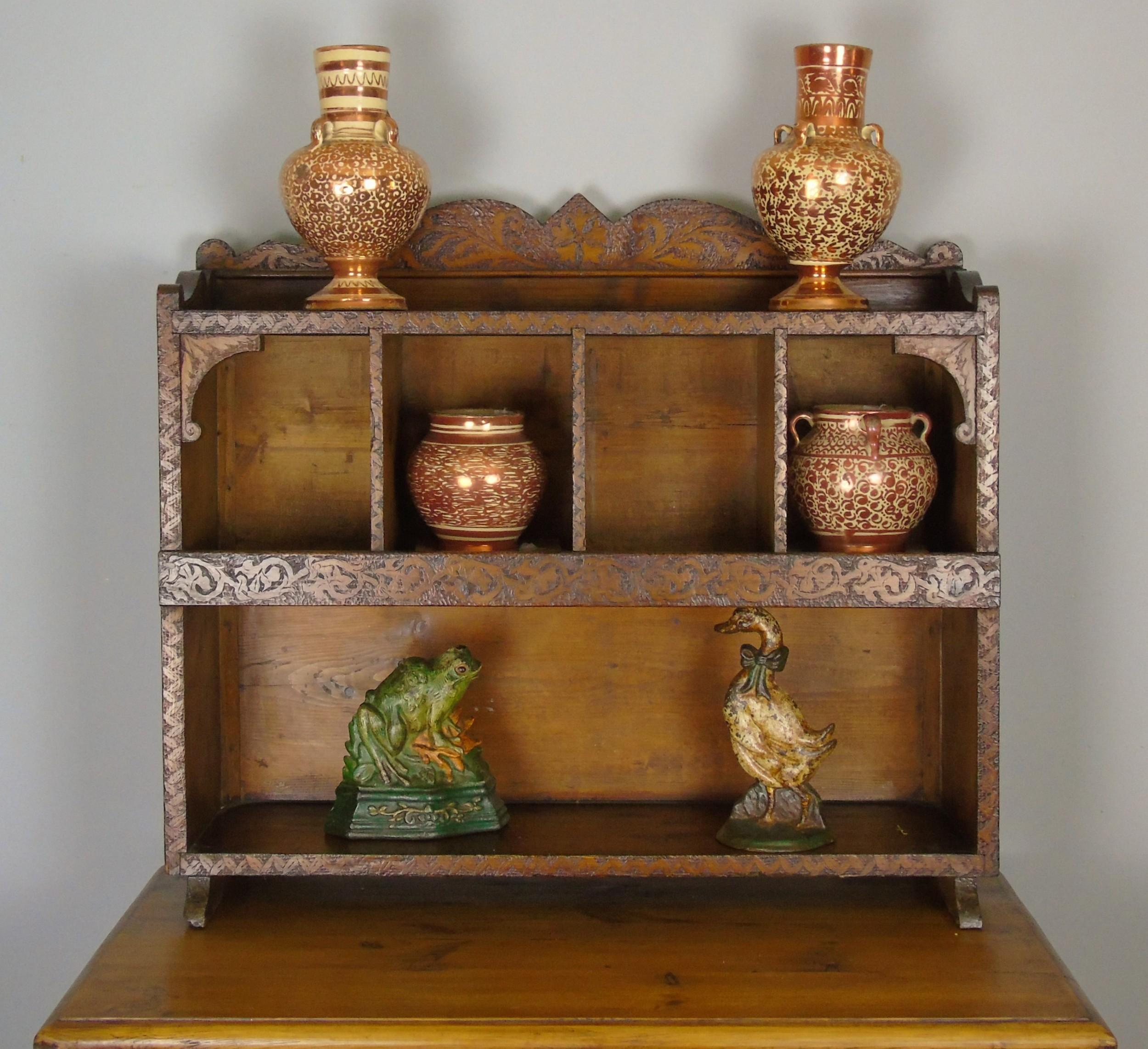 antique country pine wall shelves table display cabinet