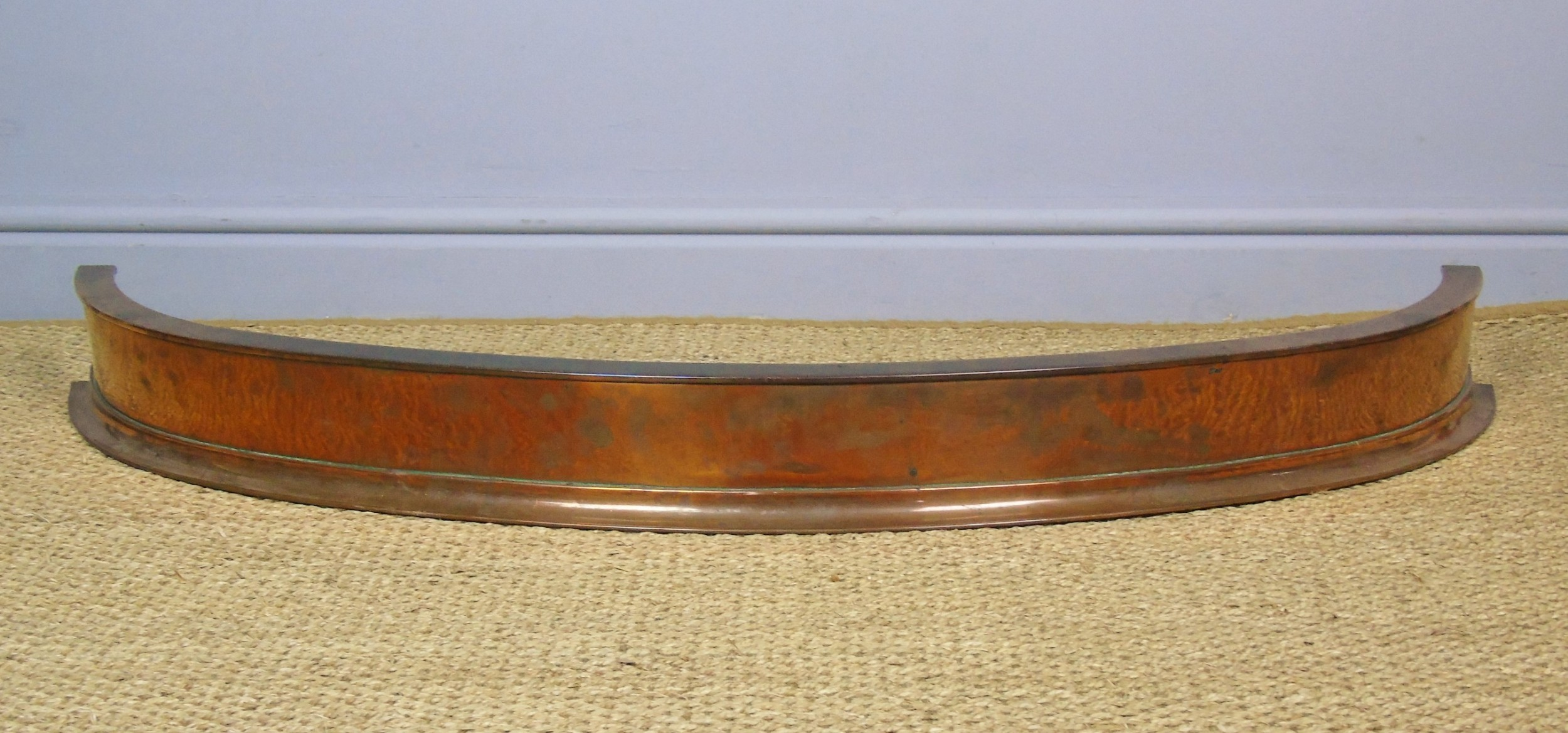 good quality 19th century solid curved copper fender
