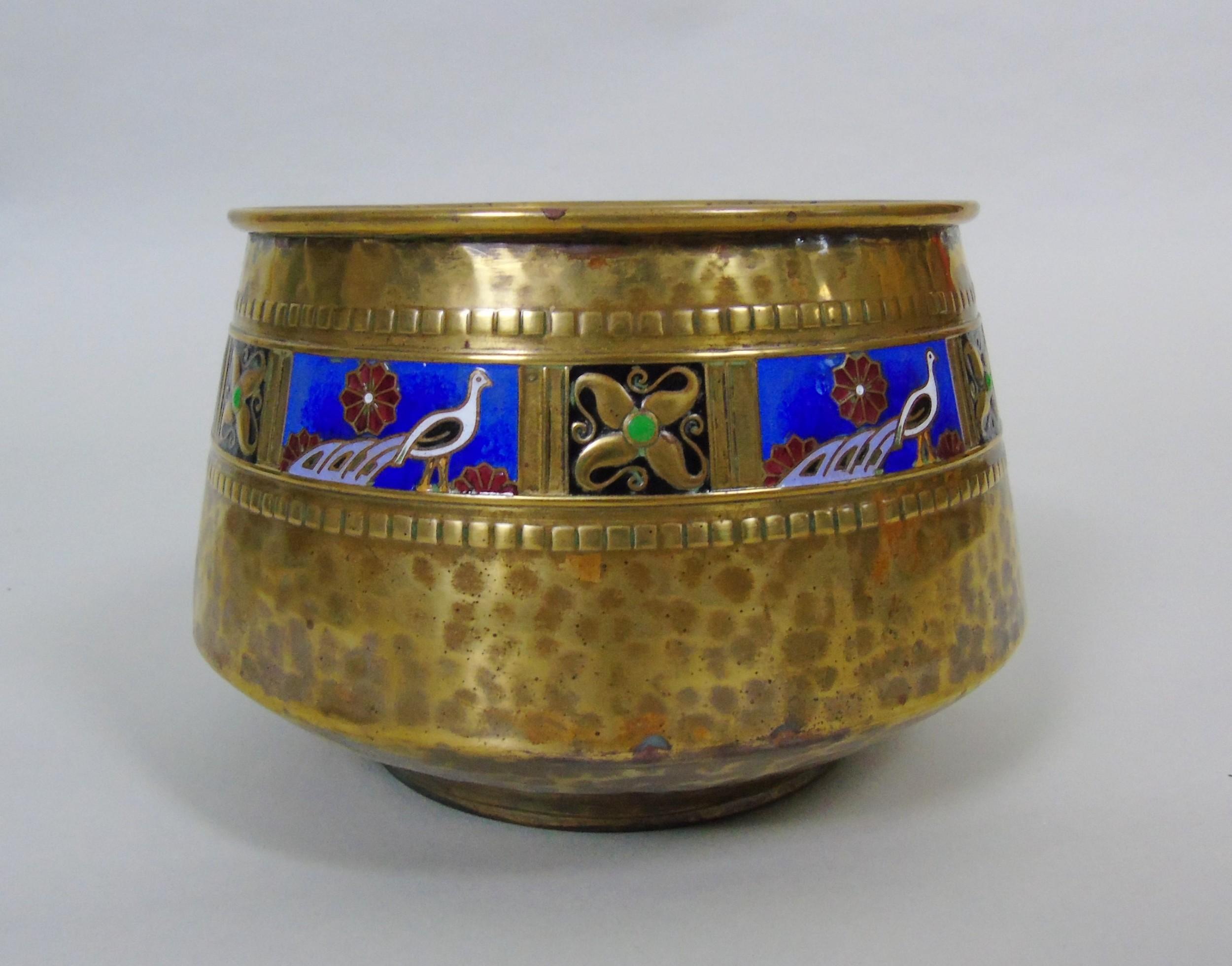 wmf art nouveau planished brass enamel planter jardiniere albert meyer
