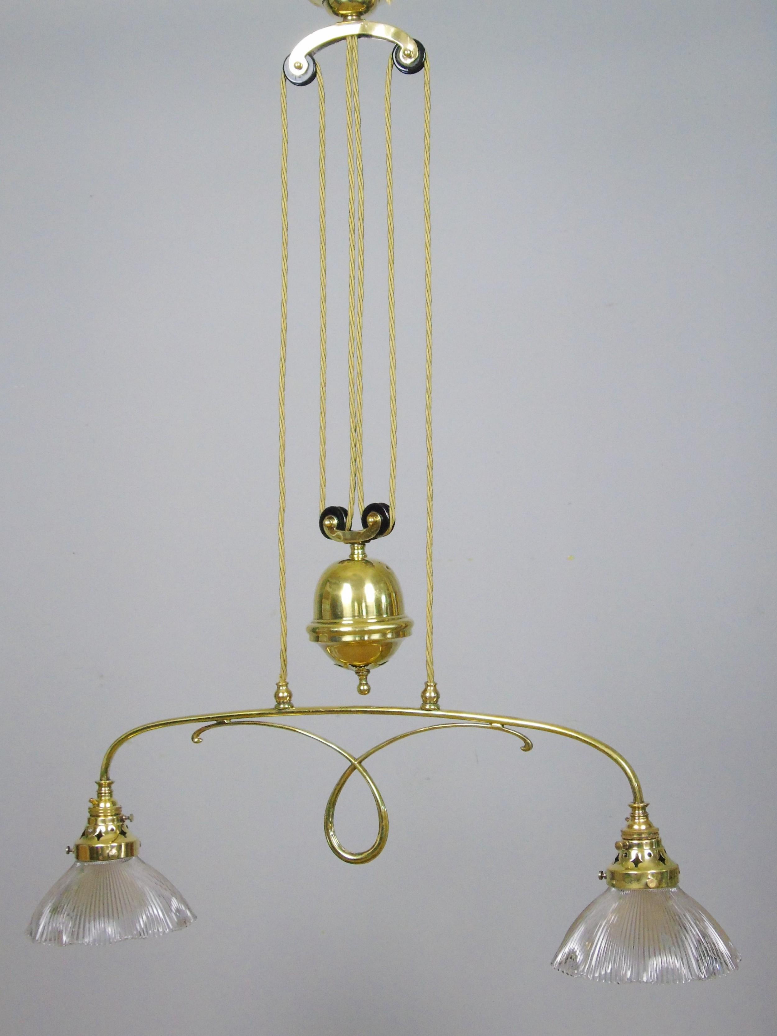 good holophane brass rise fall chandelier light fitting 1904