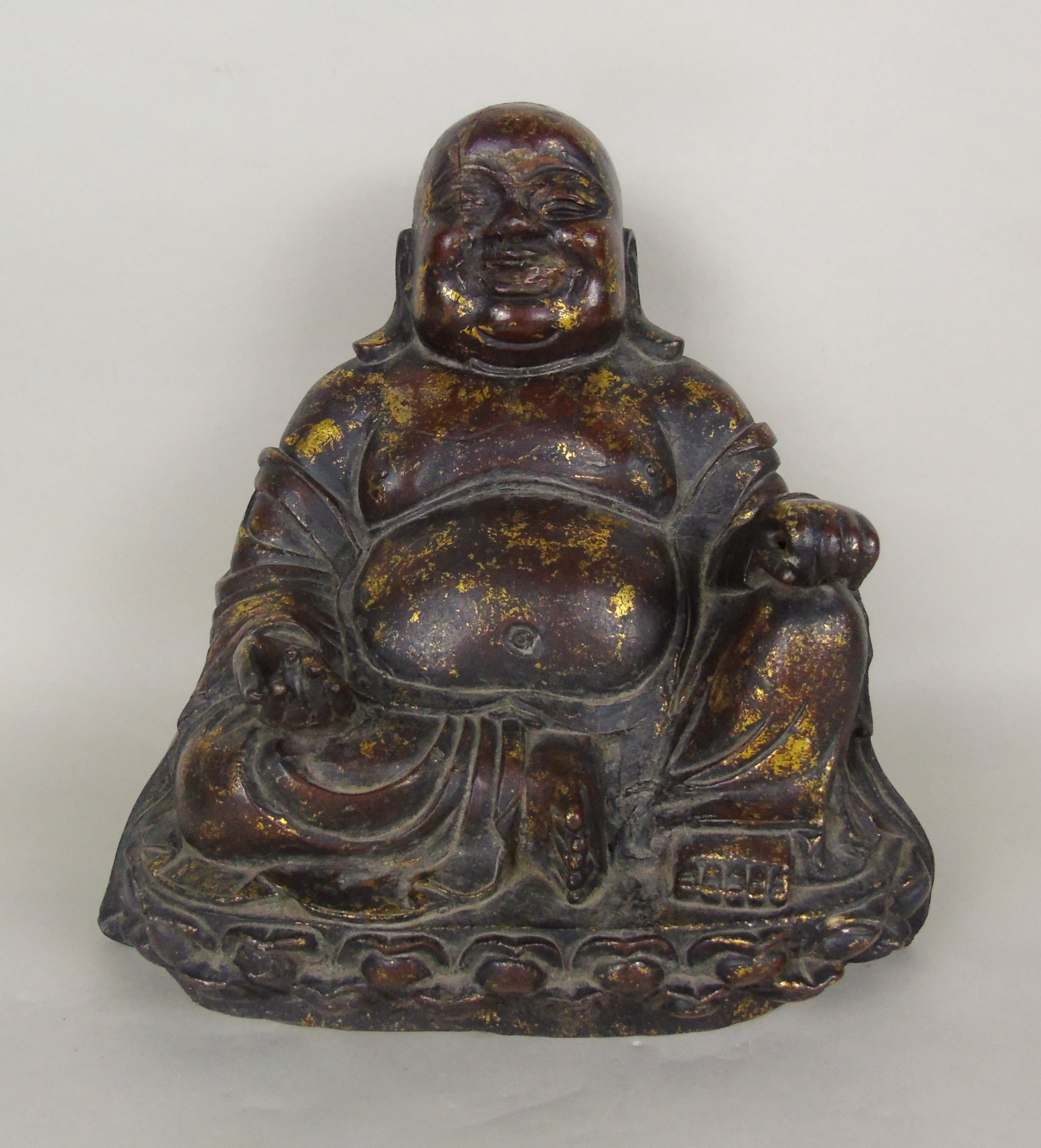 large chinese laquered gilt bronze buddha