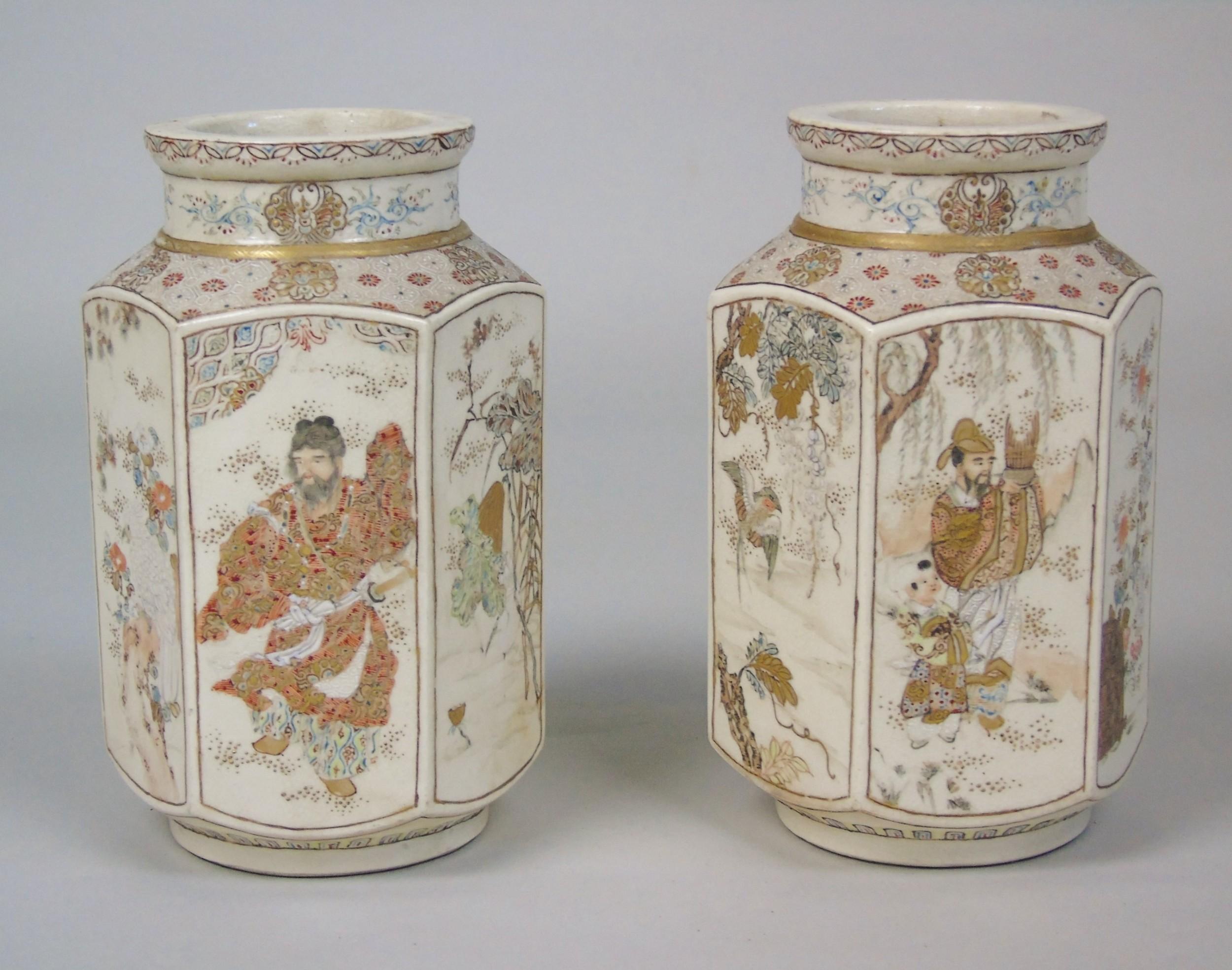 good pair of 19th century japanese satsuma vases