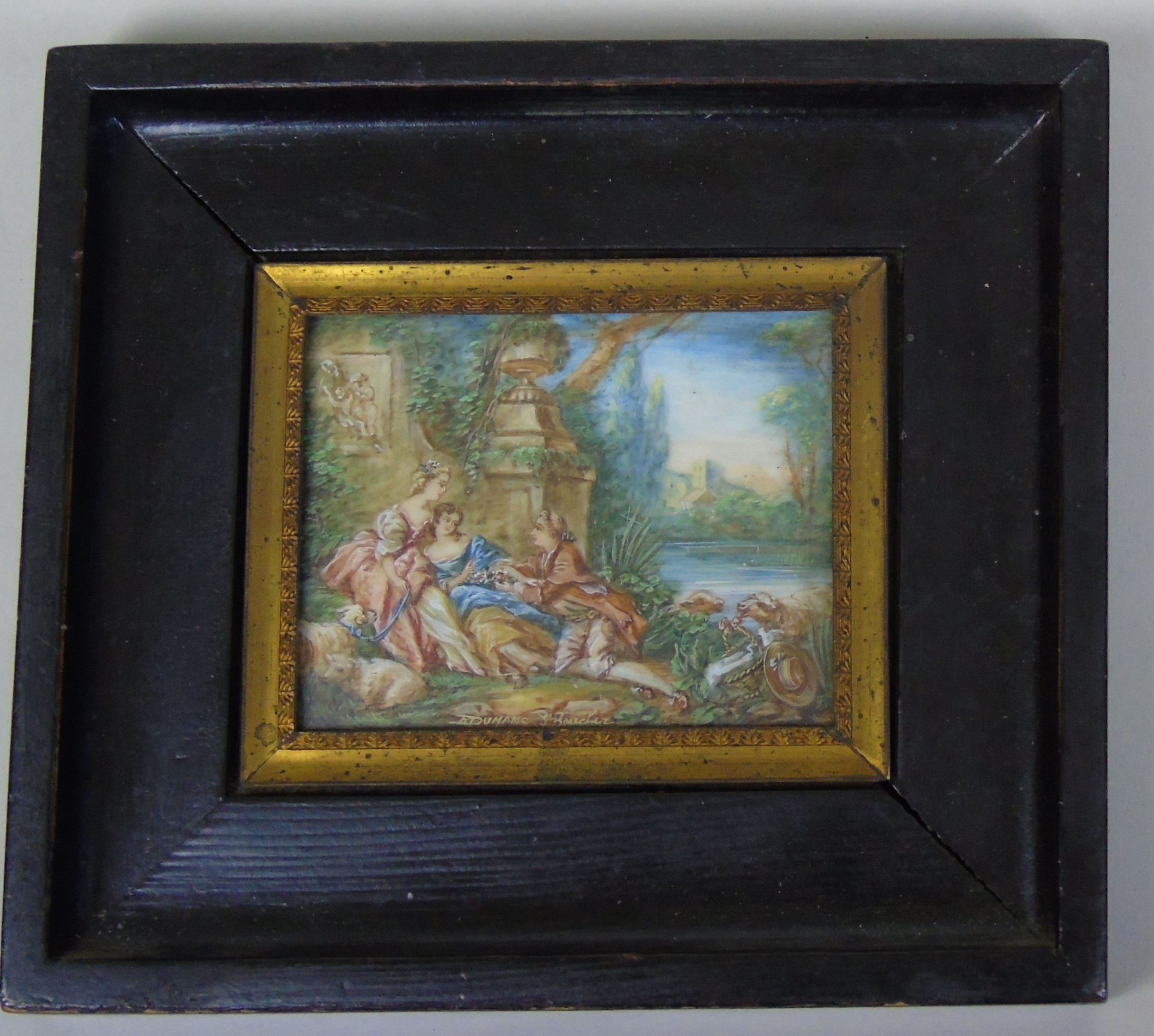 beautiful miniature painting after boucher by the lake