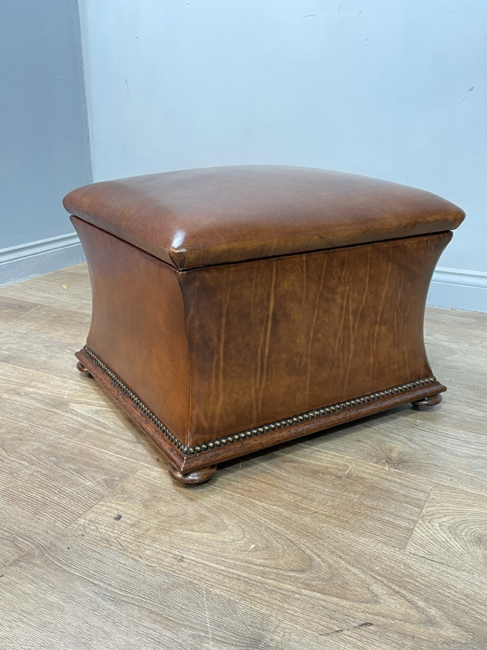victorian leather upholstered ottoman stool