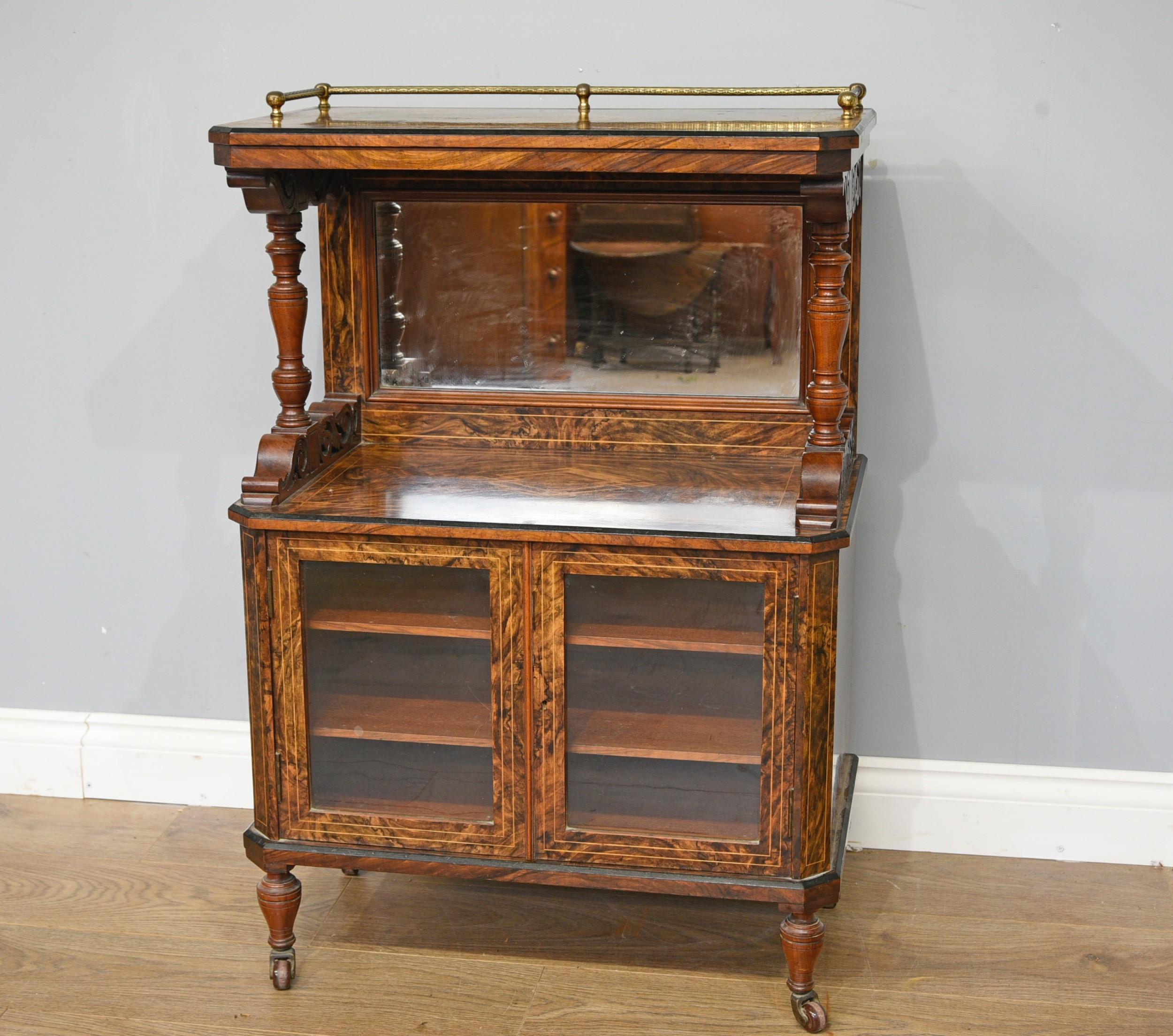 antique victorian walnut music side cabinet