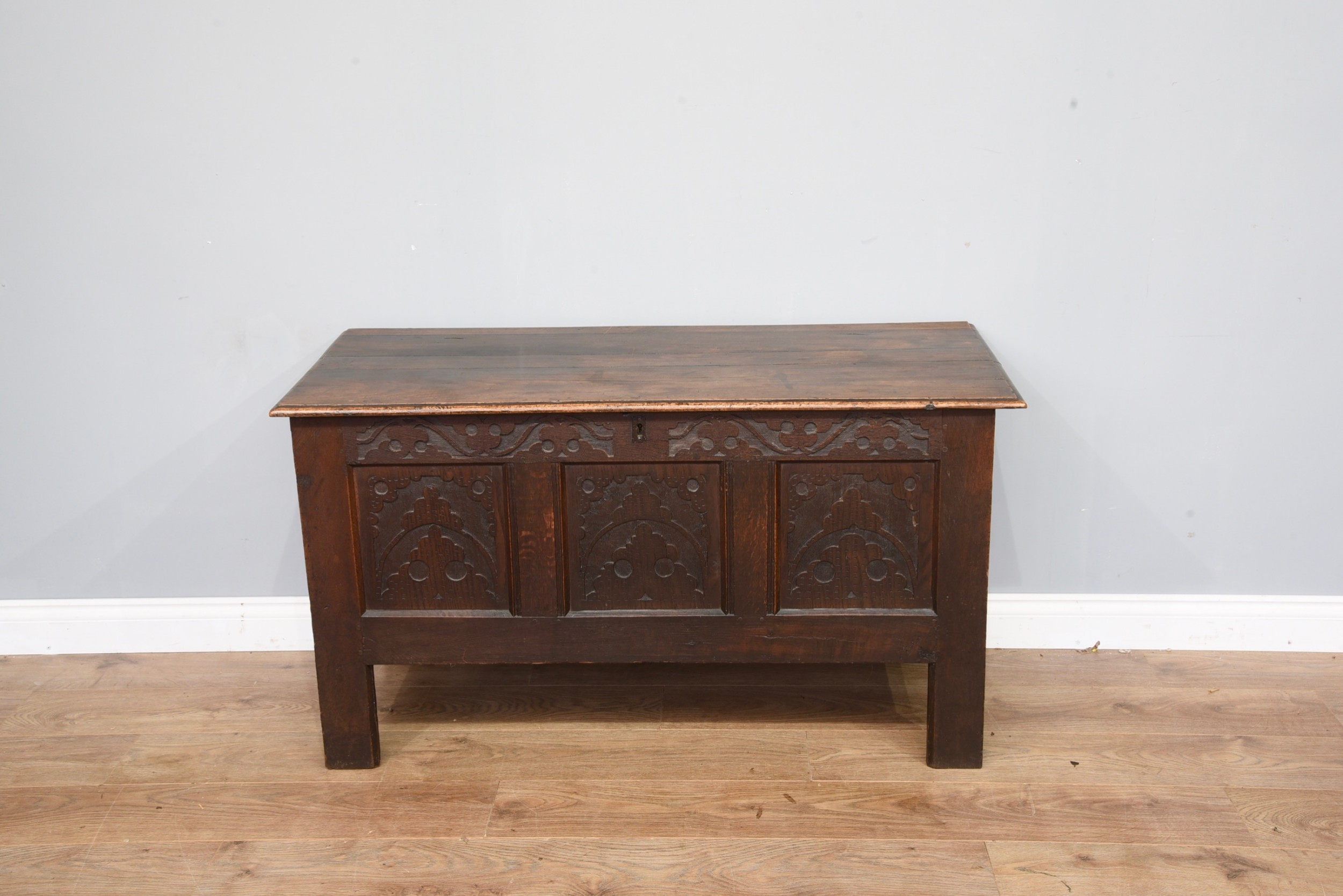 late 18th century carved oak coffer