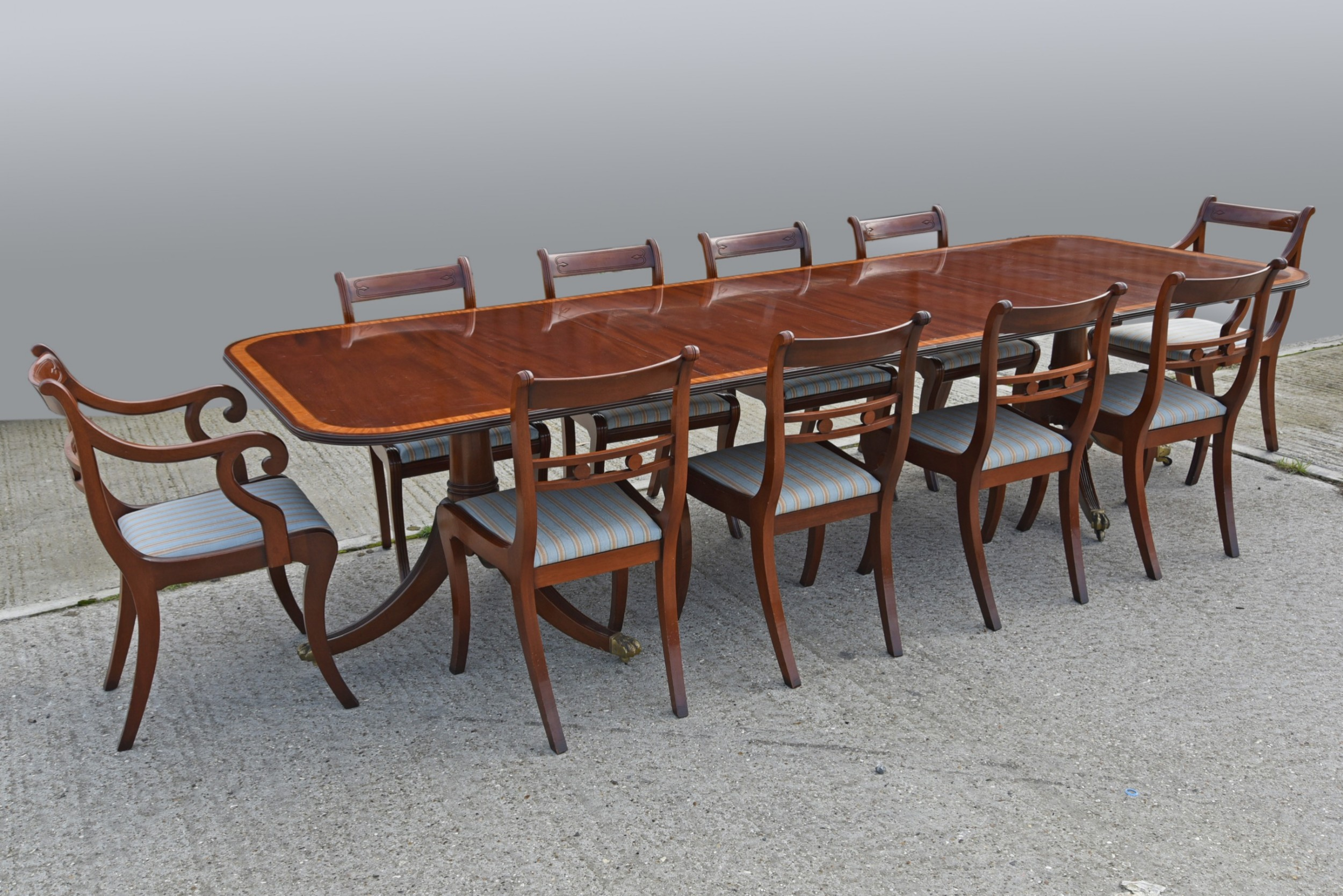 regency style mahogany dining table and 10 chairs
