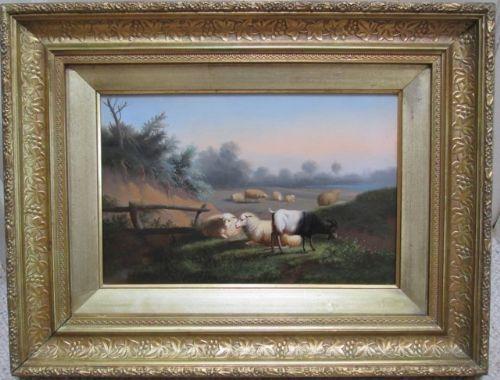 sheep and goat in pasture oil on panel johan van leemputen belgium animals landscape