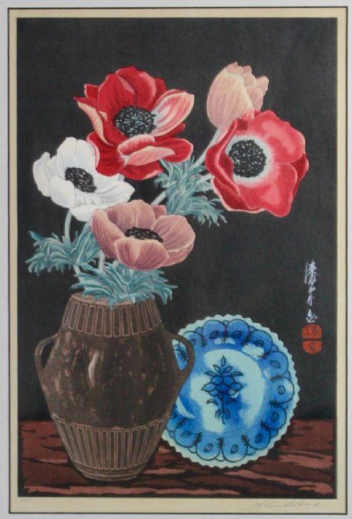 anenomes i urushibara wood block print signed japanese
