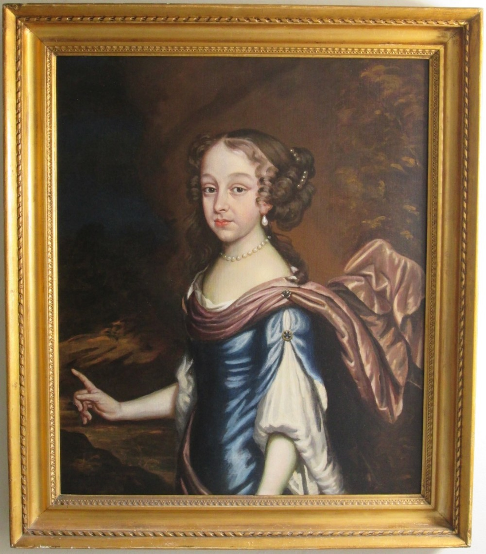 portrait of a fine young lady in pearl earings oil painting 17th century
