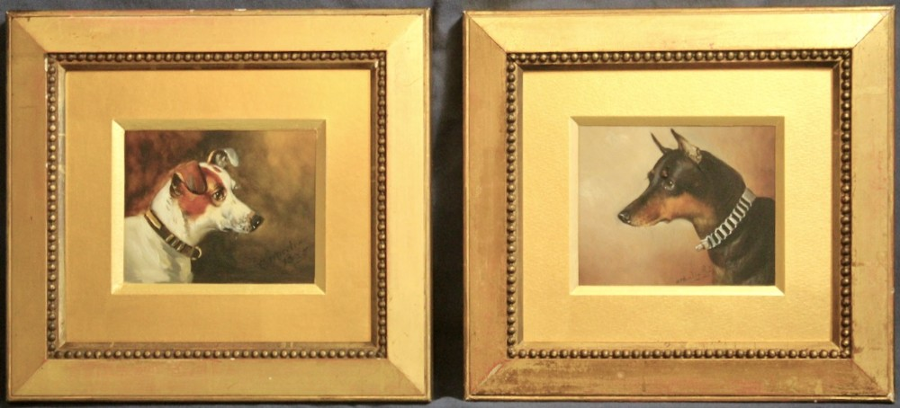 jack russell and manchester terrier pair john alfred wheeler miniature oil paintings dog portrait