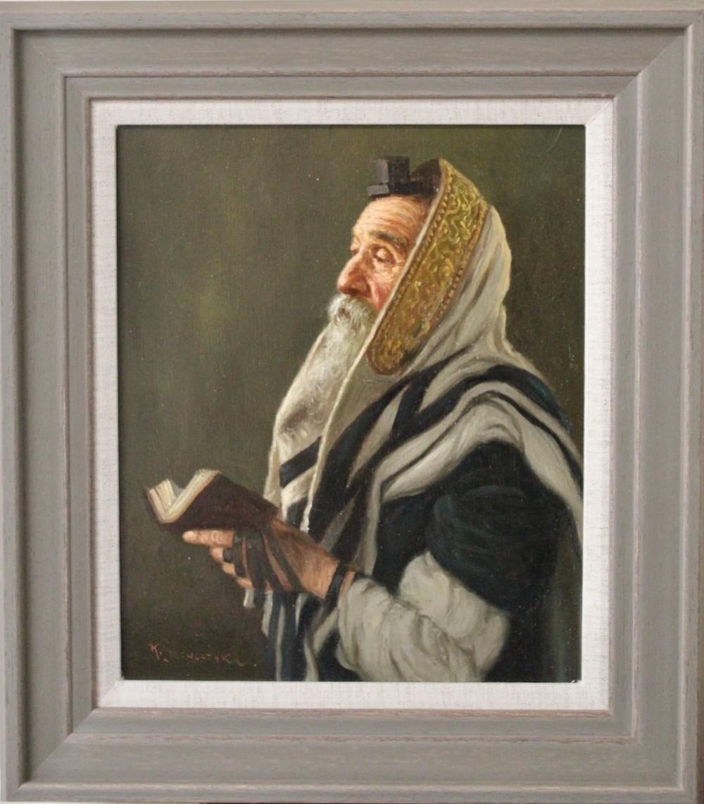 portrait of a rabbi konstantin szewczenko oil painting ukranian polish jewish judaica