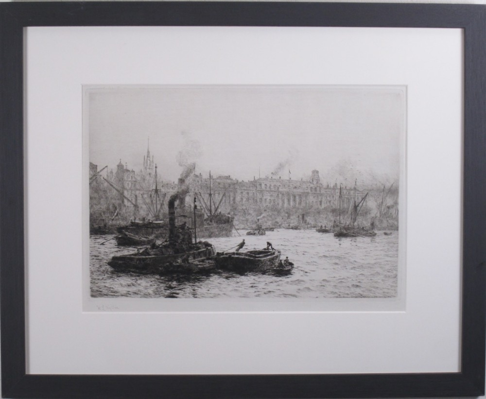 billingsgate and the customs house william l wyllie original signed etching london thames marine