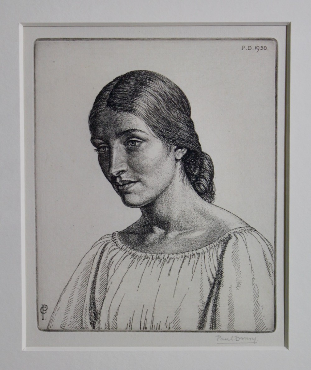 portrait of a young woman paul drury signed etching