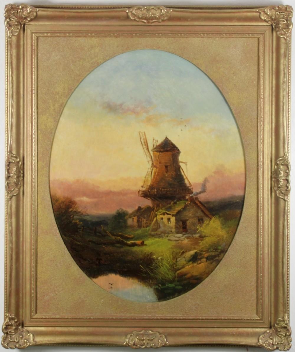 windmill at sunset circa 1860 oil painting on artist's board joseph horlor landscape