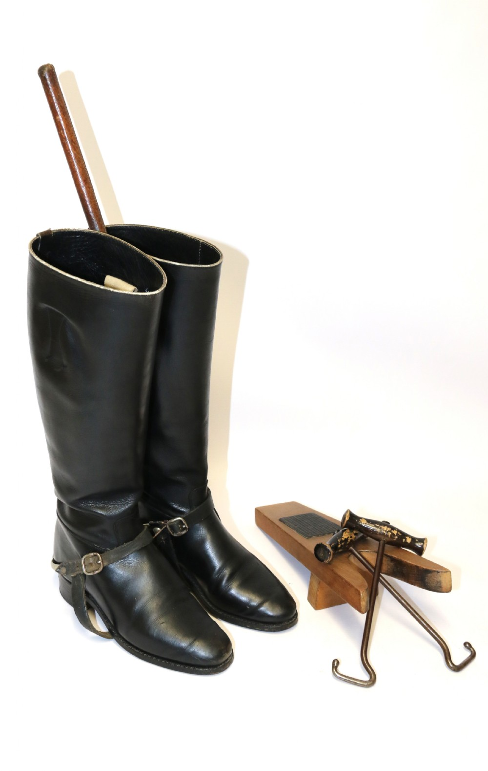 a pair of leather riding boots early20th century