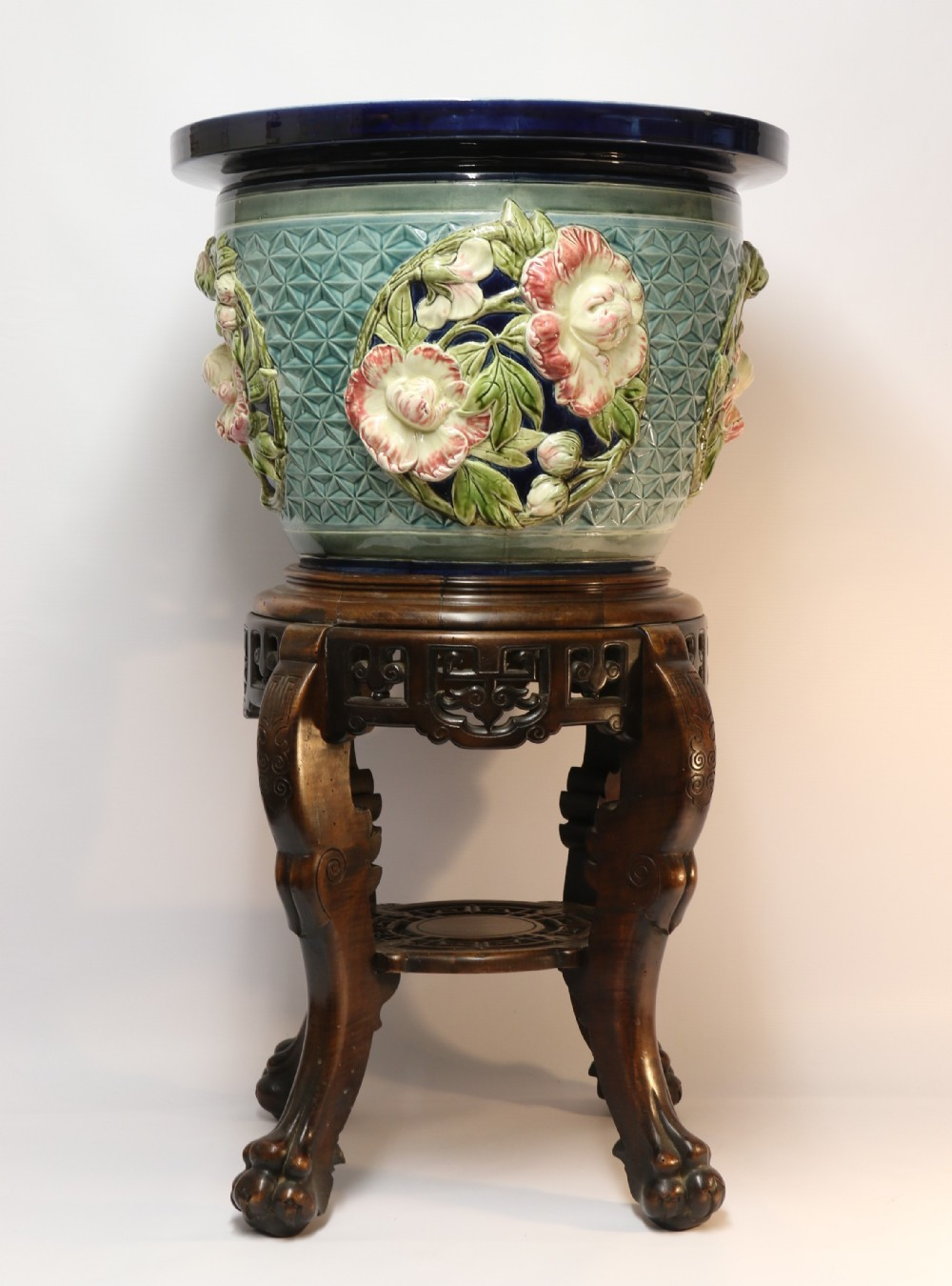 a fine french pottery jardiniere with original stand