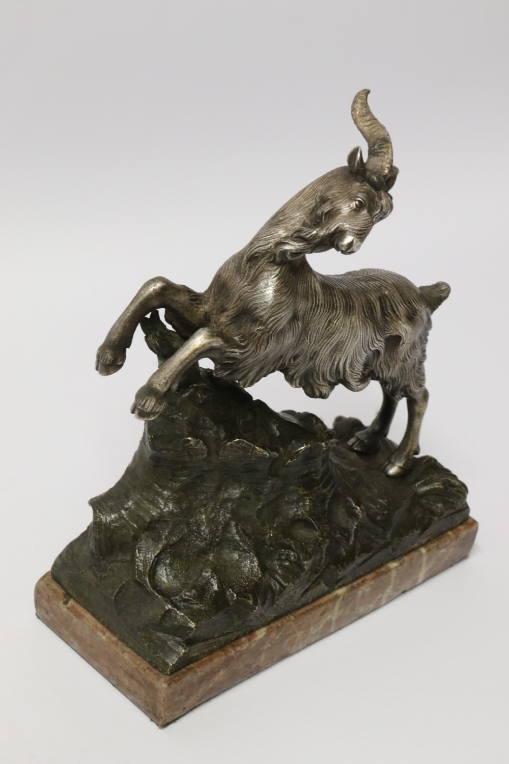 a mid 19th century silvered bronze study of a goat