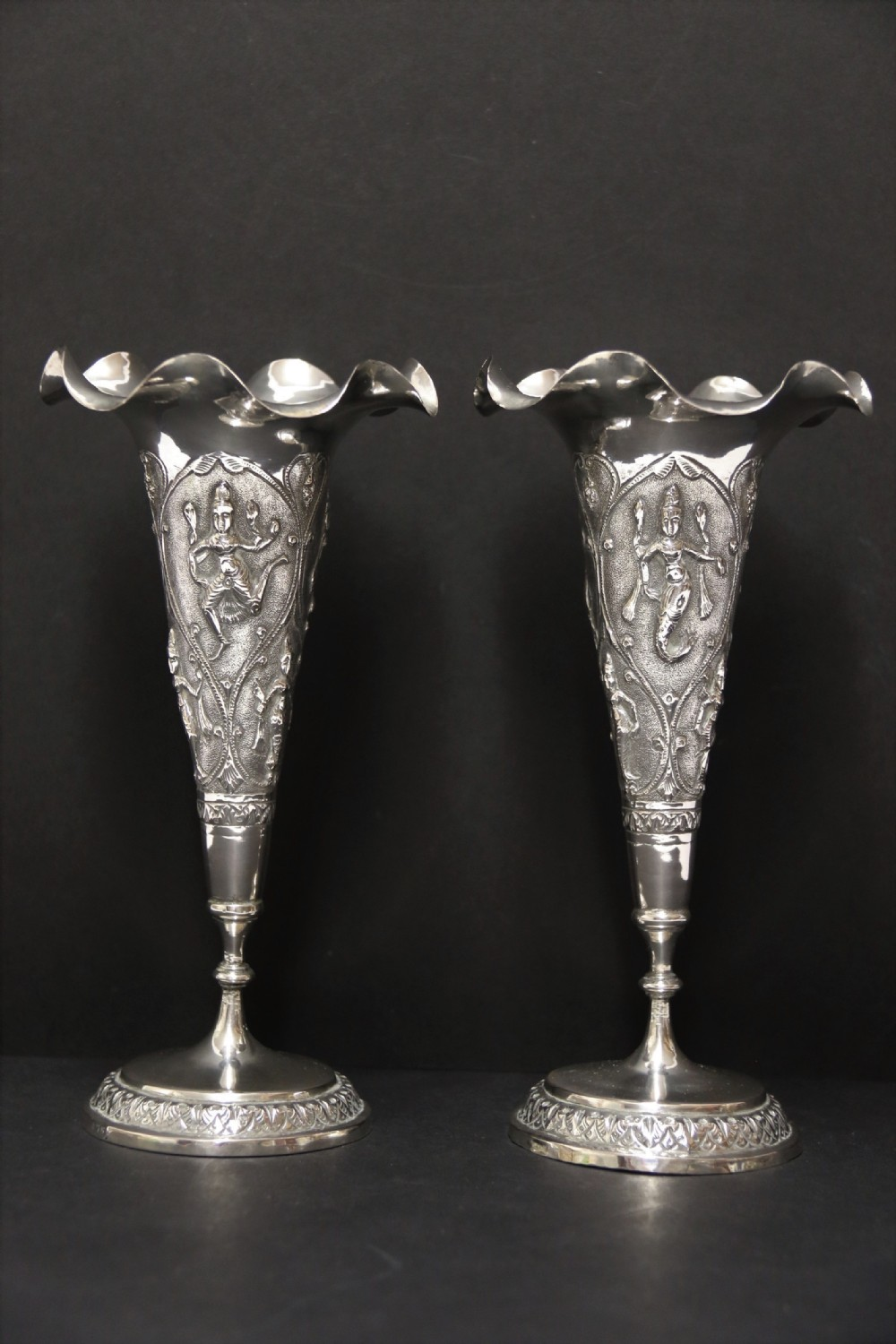 a fine pair of 19th century raj period indian silver vases