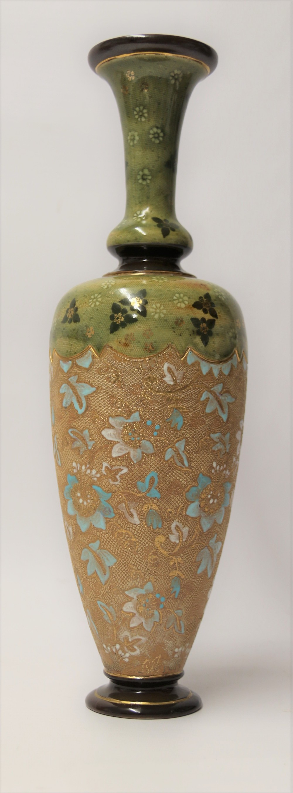 a large victorian doulton lambeth hand painted vase