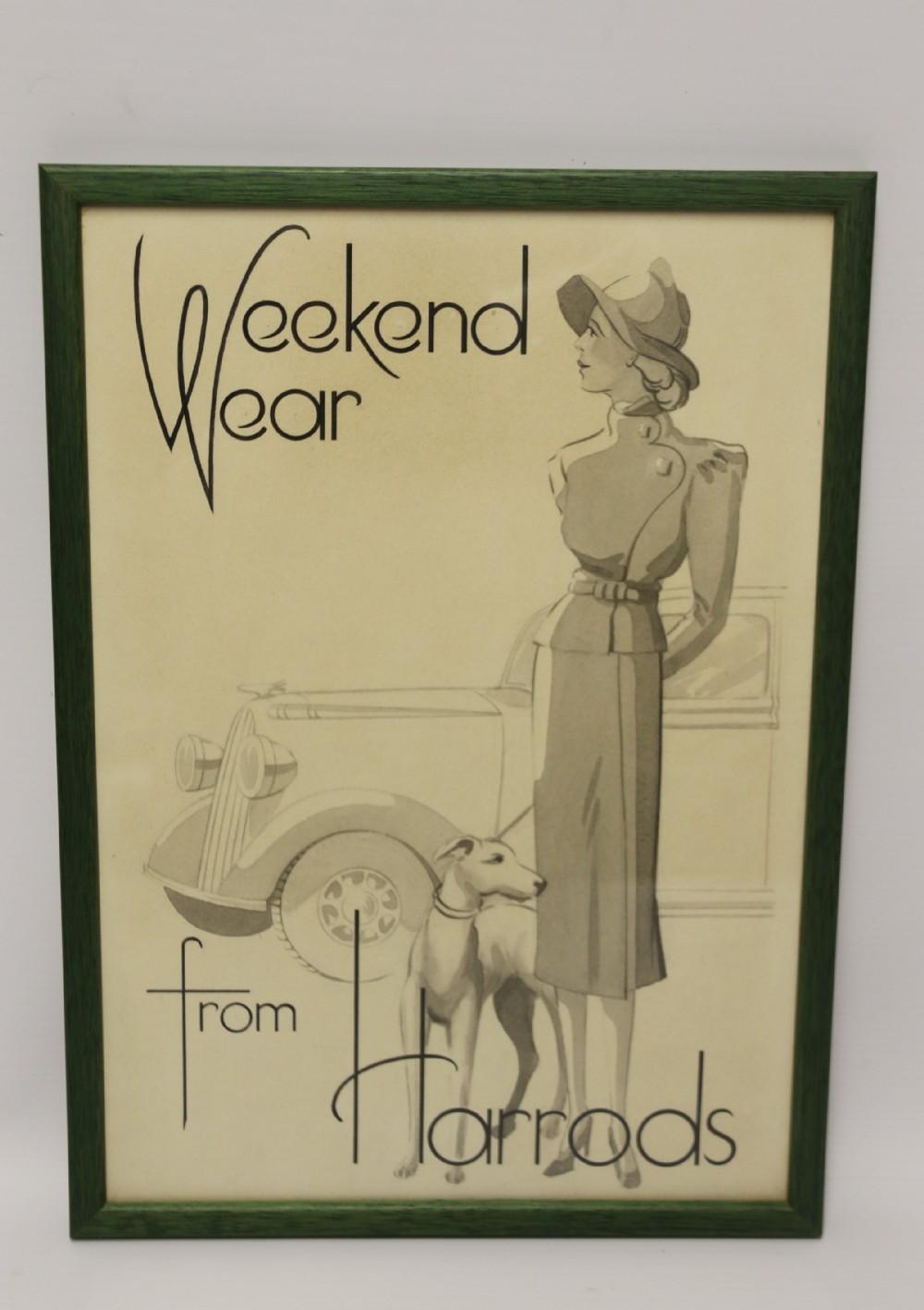 an original 1940s art work for a harrods advertisement