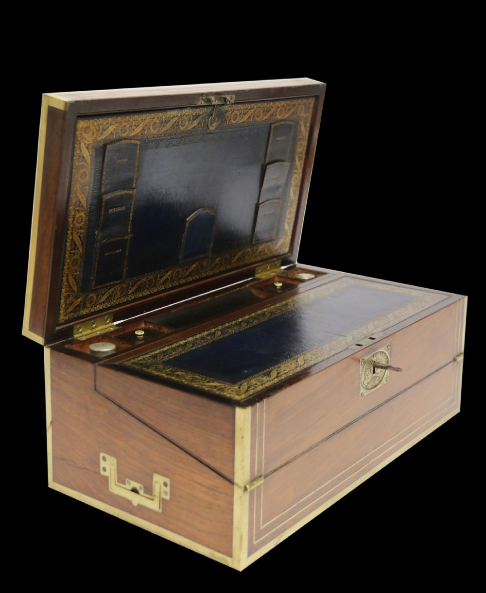 a superb early 19th c gentlemans brass mounted campaign writing box