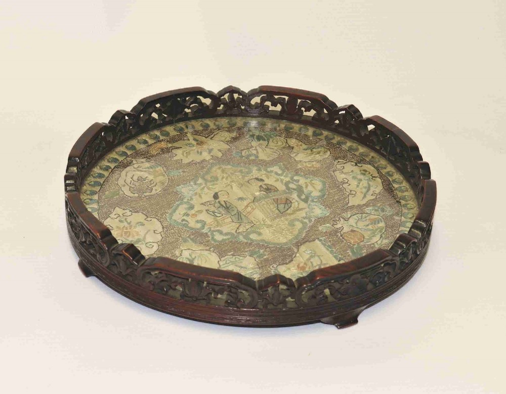chinese carved hardwood and silk embroidered tray circa 1860