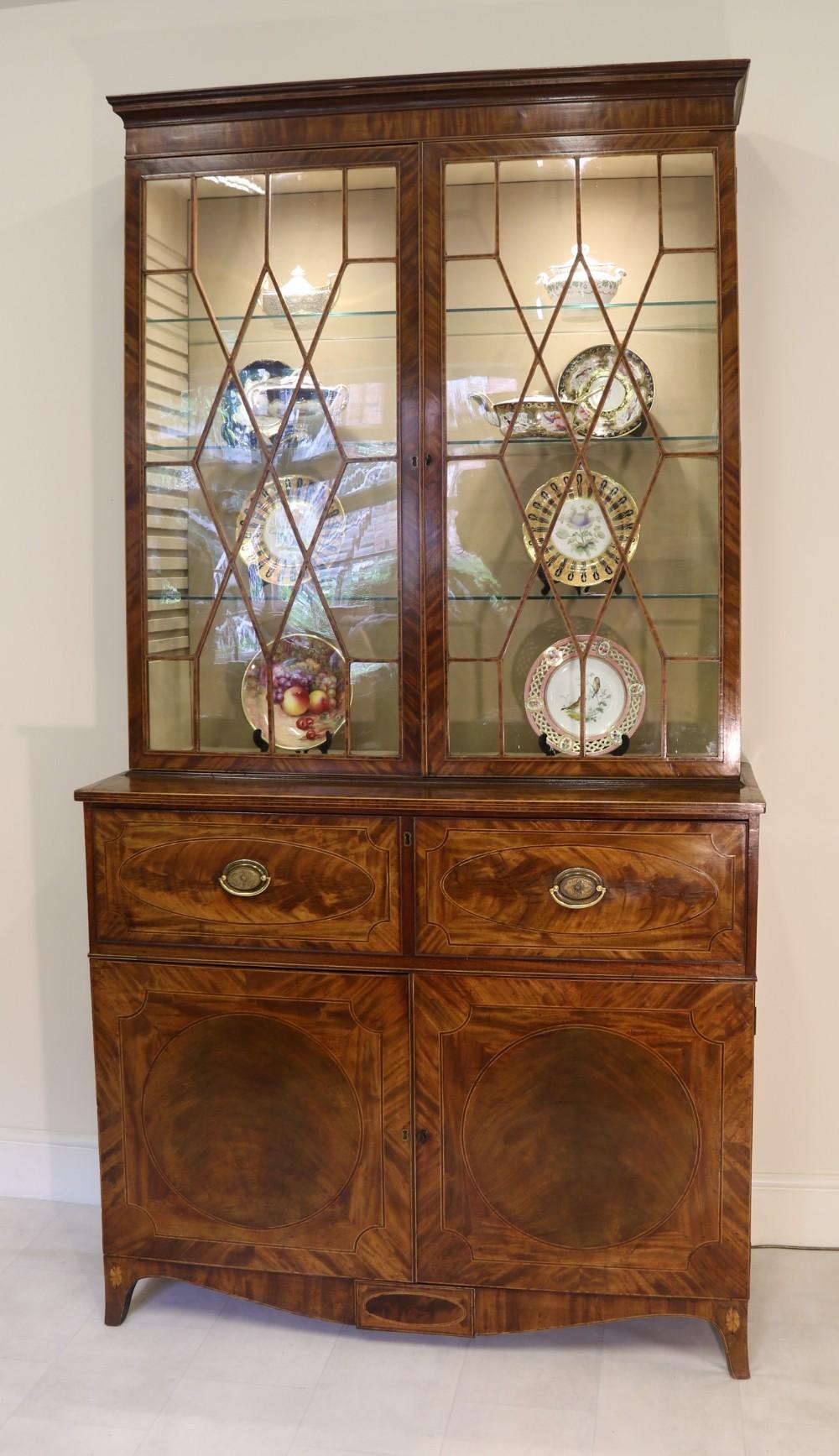 a superb george iii period inlaid flame mahogany secretaire bookcasedisplay cabinet