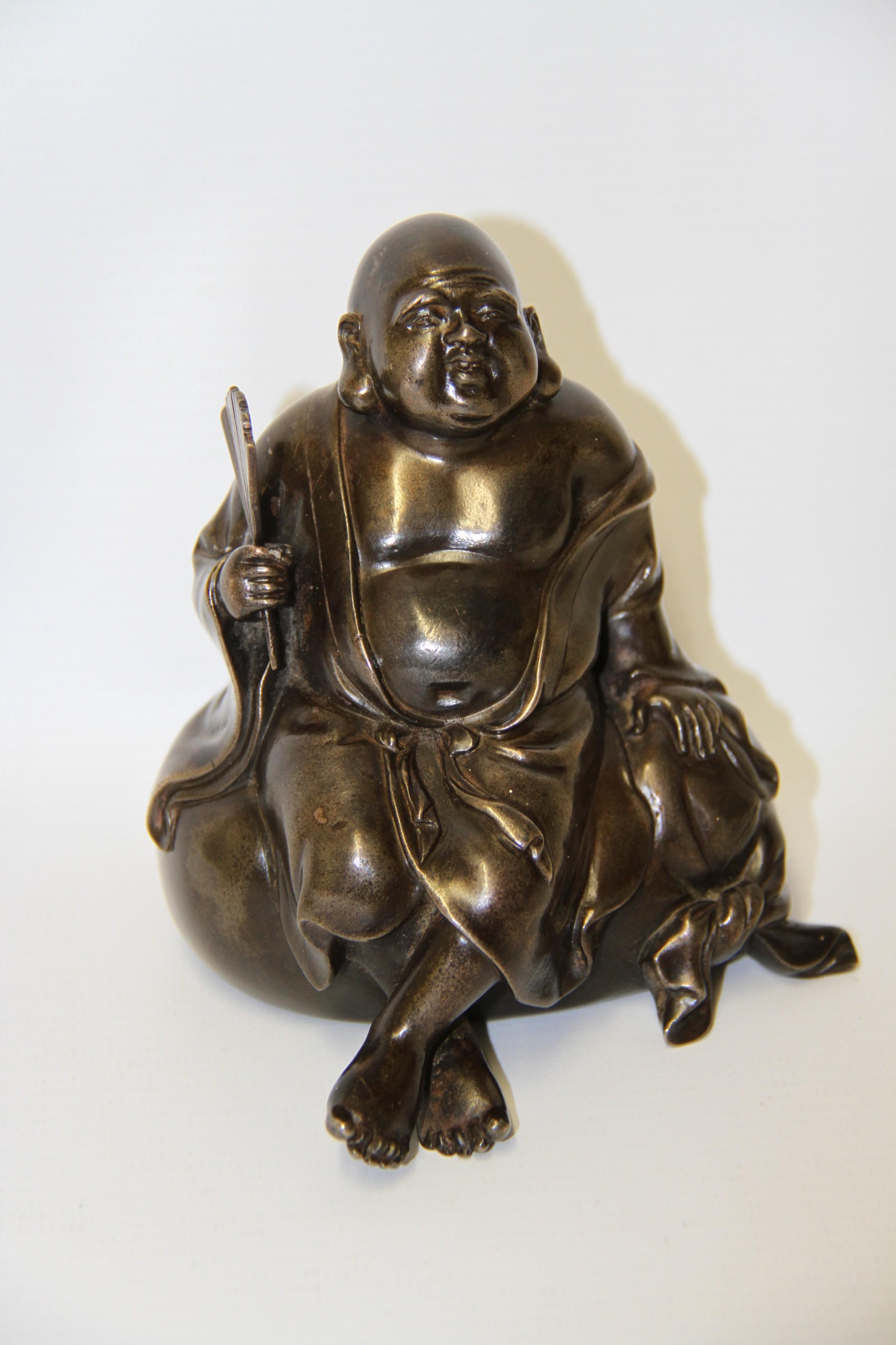 a humorous late 19th century bronze okimono