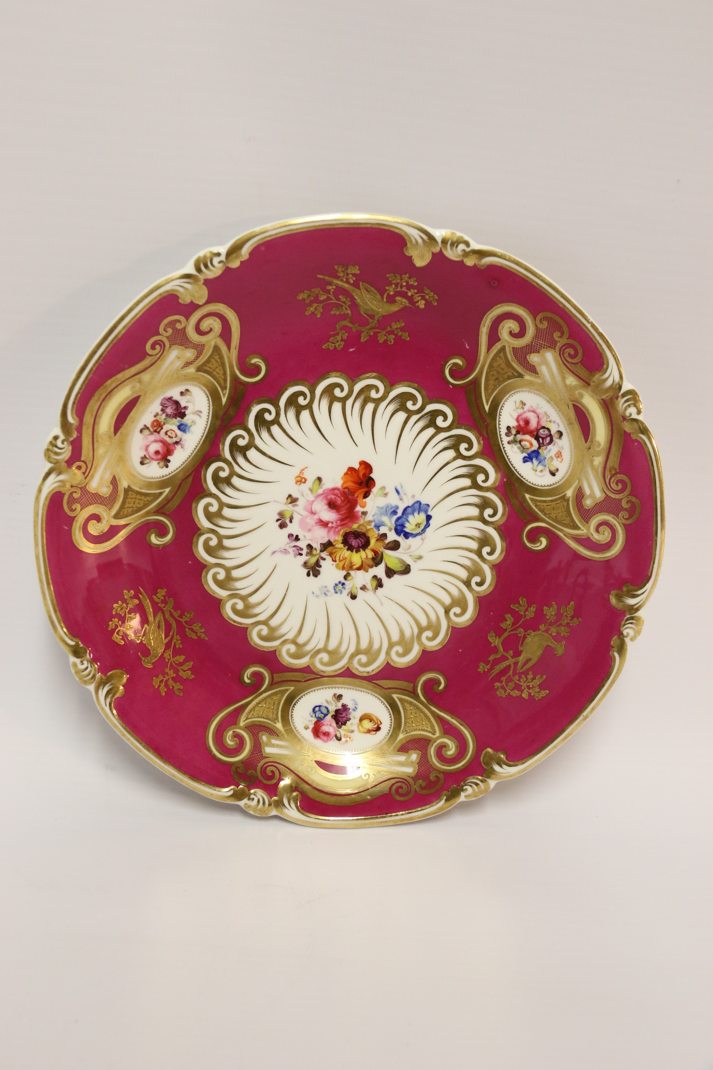 an antique english early 19th c hand painted shallow dish by daniel factory