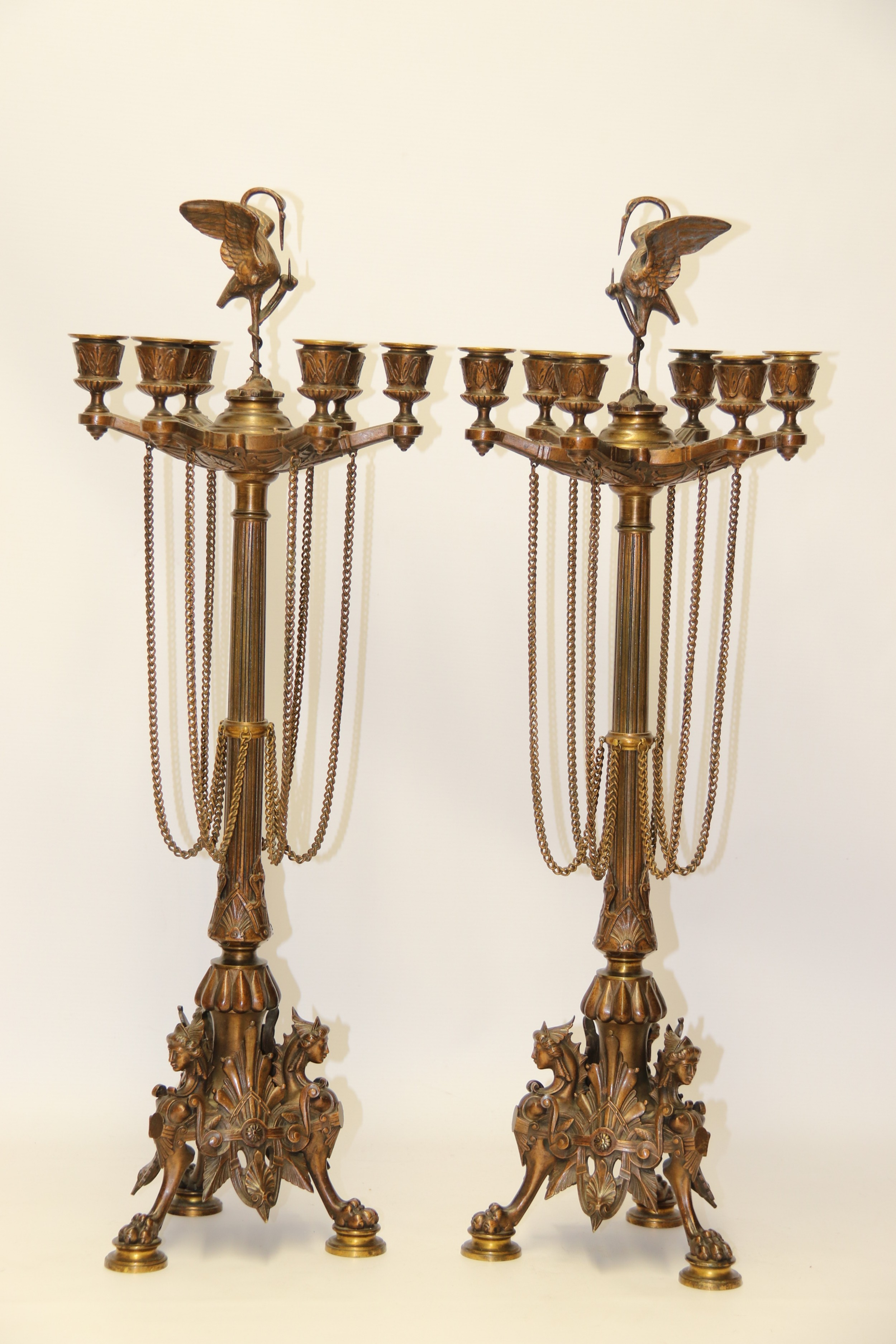 a superb pair of mid 19th century french bronze candelabra