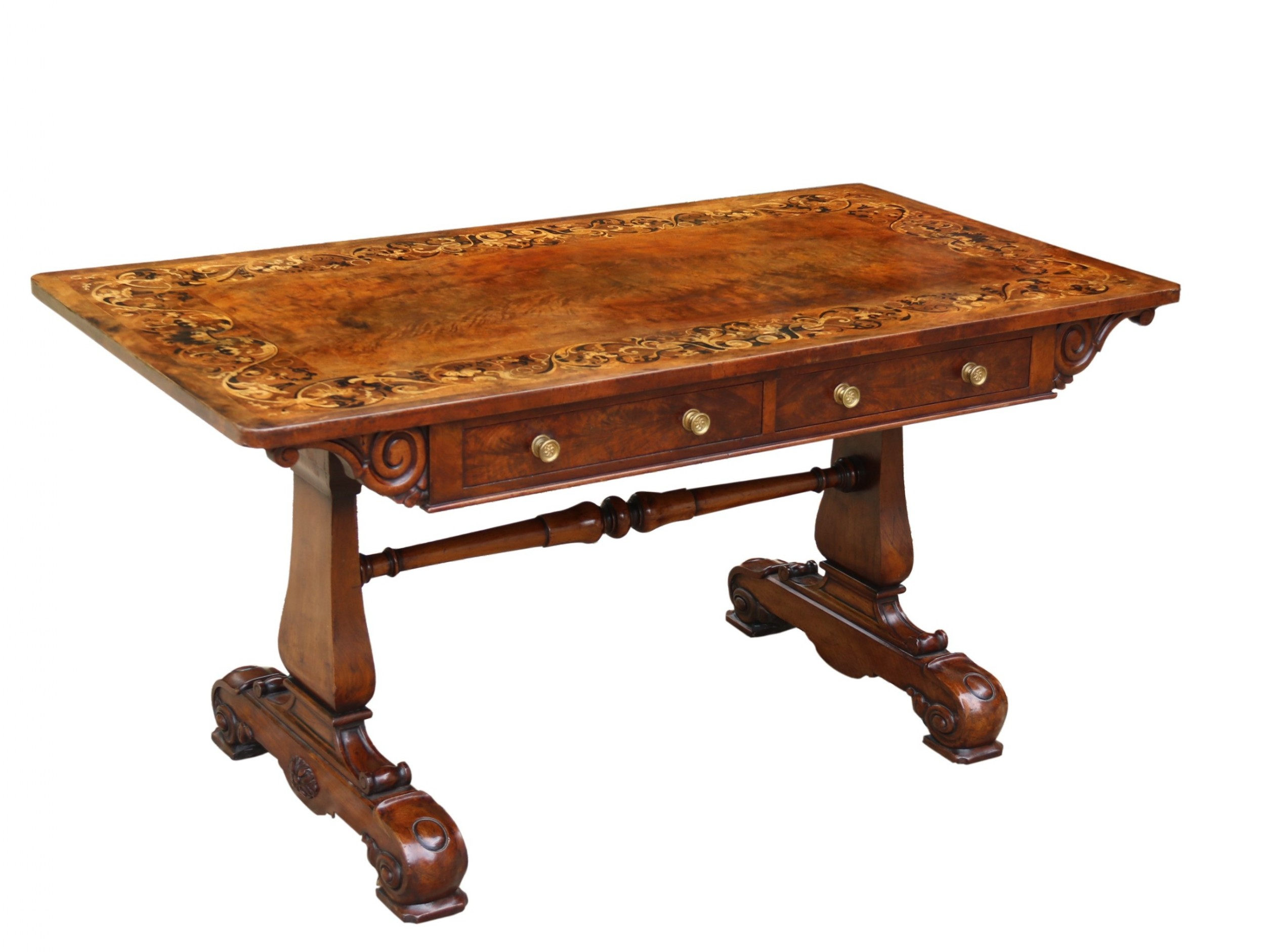 a superb flame mahogany and marquetry early 19th c library table