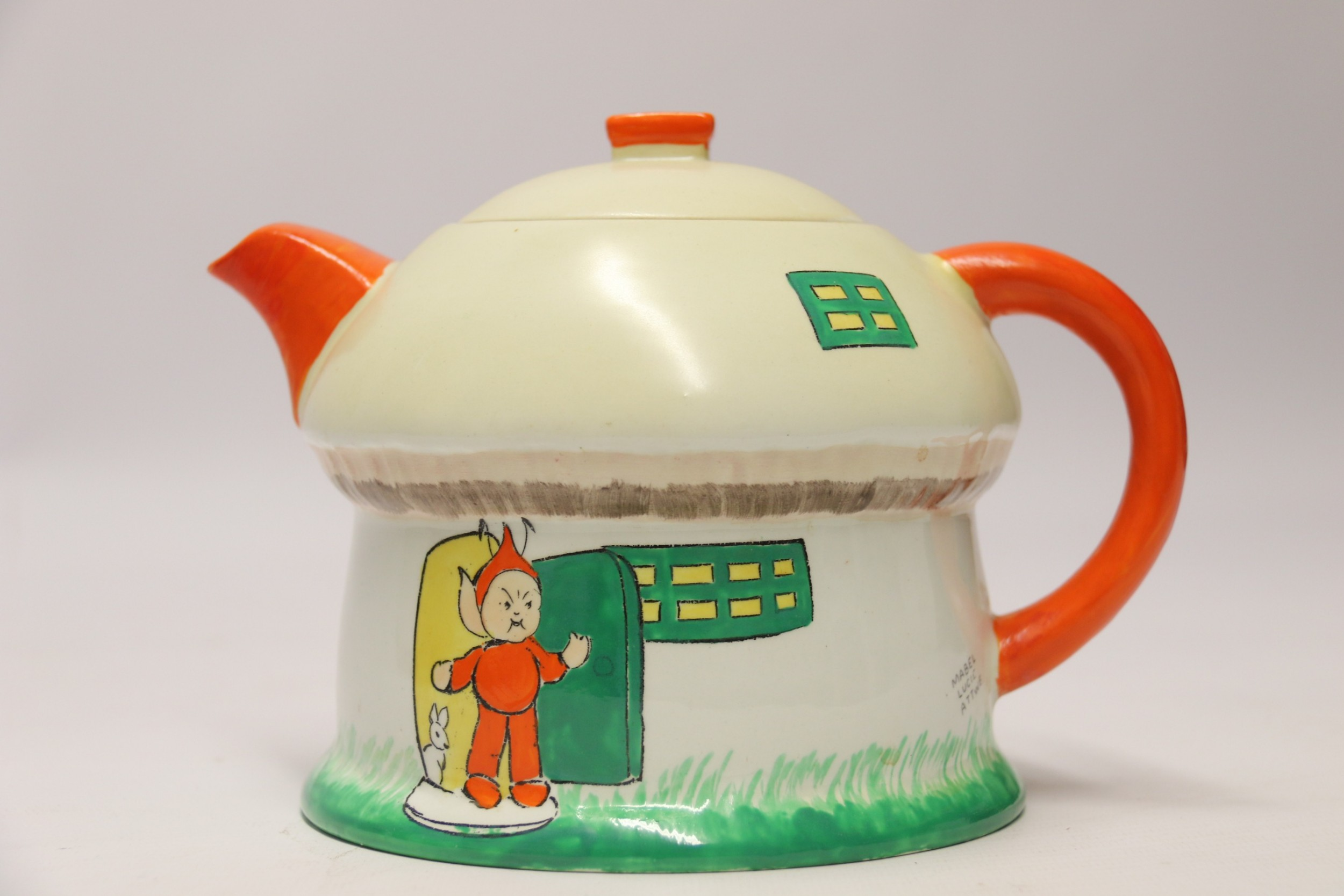 a rare shelly porcelain novelty tea pot circa 1930 designed by mable lucy attwell