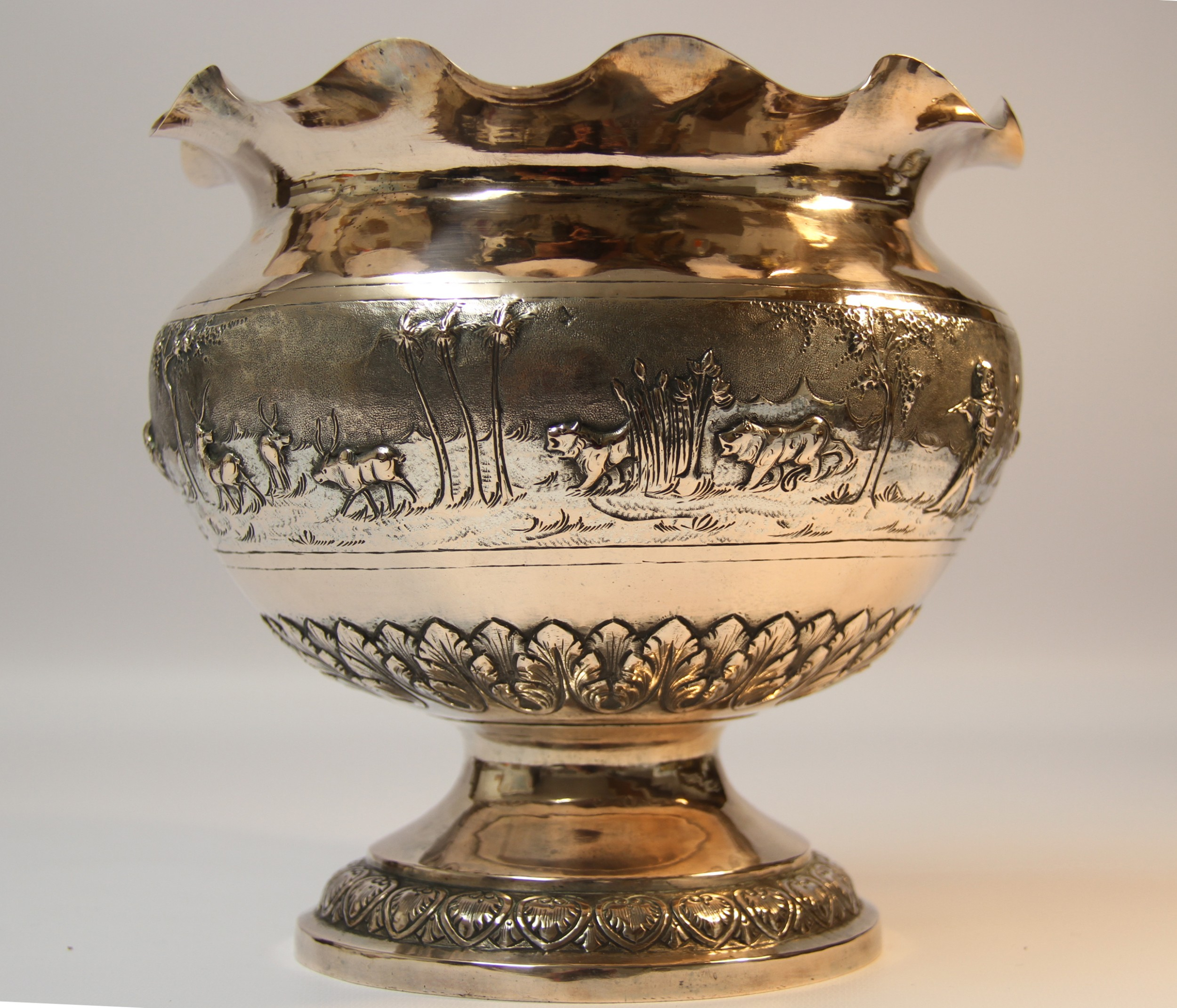 a large 19th century indian white metal bowl a large 19th century indian white metal bowl