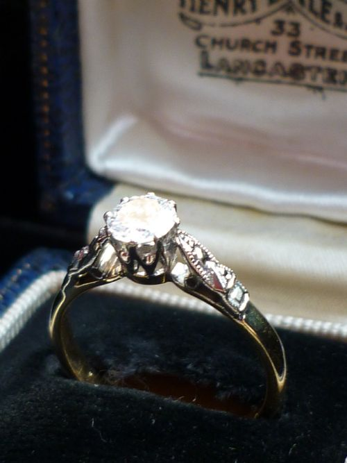 516ad47034773 Stunning 18ct Gold & Platinum 0.45ct Old Transitional Cut Solitaire ...