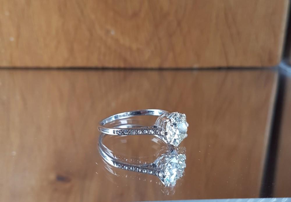 exquisite platinum 215ct old cut solitaire diamond heritage ring free sizing