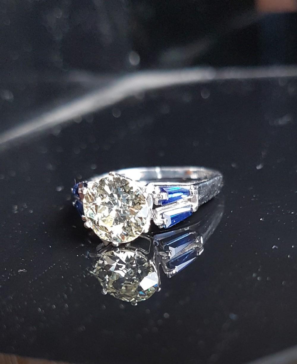 exquisite platinum 191ct old cut solitaire diamond 069c sapphire heritage ring