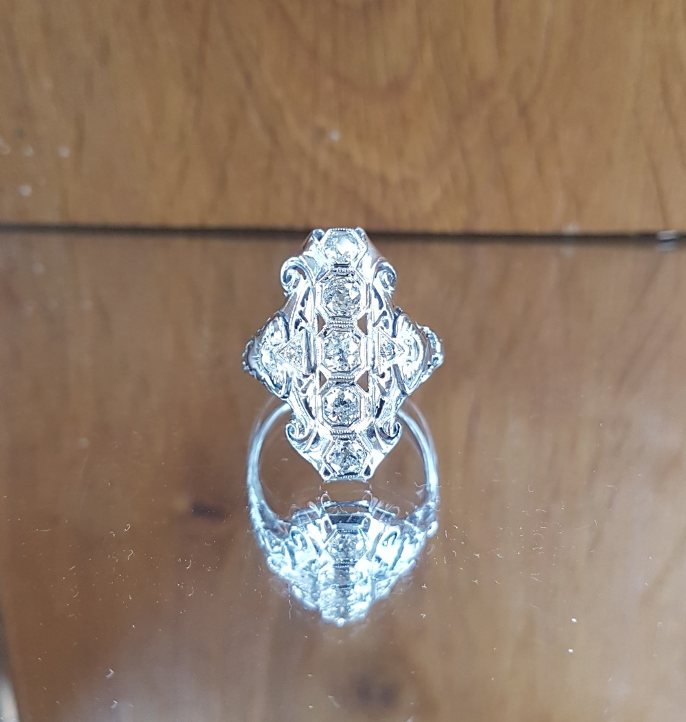 stunning 14ct white gold art deco panel 1ct old cut diamond ring free sizing