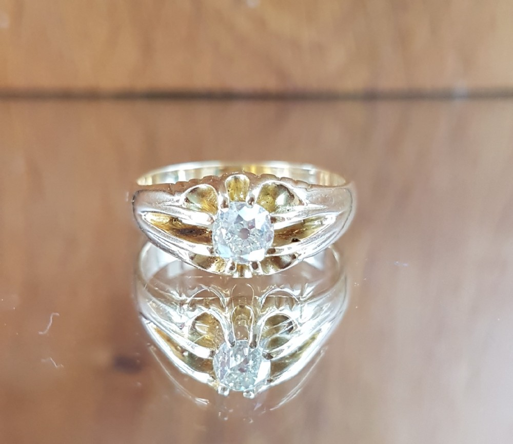 stunning 18ct gold old cut solitaire 080ct diamond ring free sizing