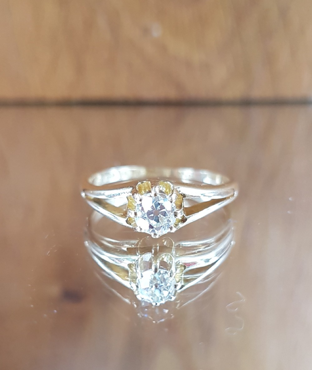 stunning victorian 18ct gold old cut solitaire 055ct diamond ring free sizing