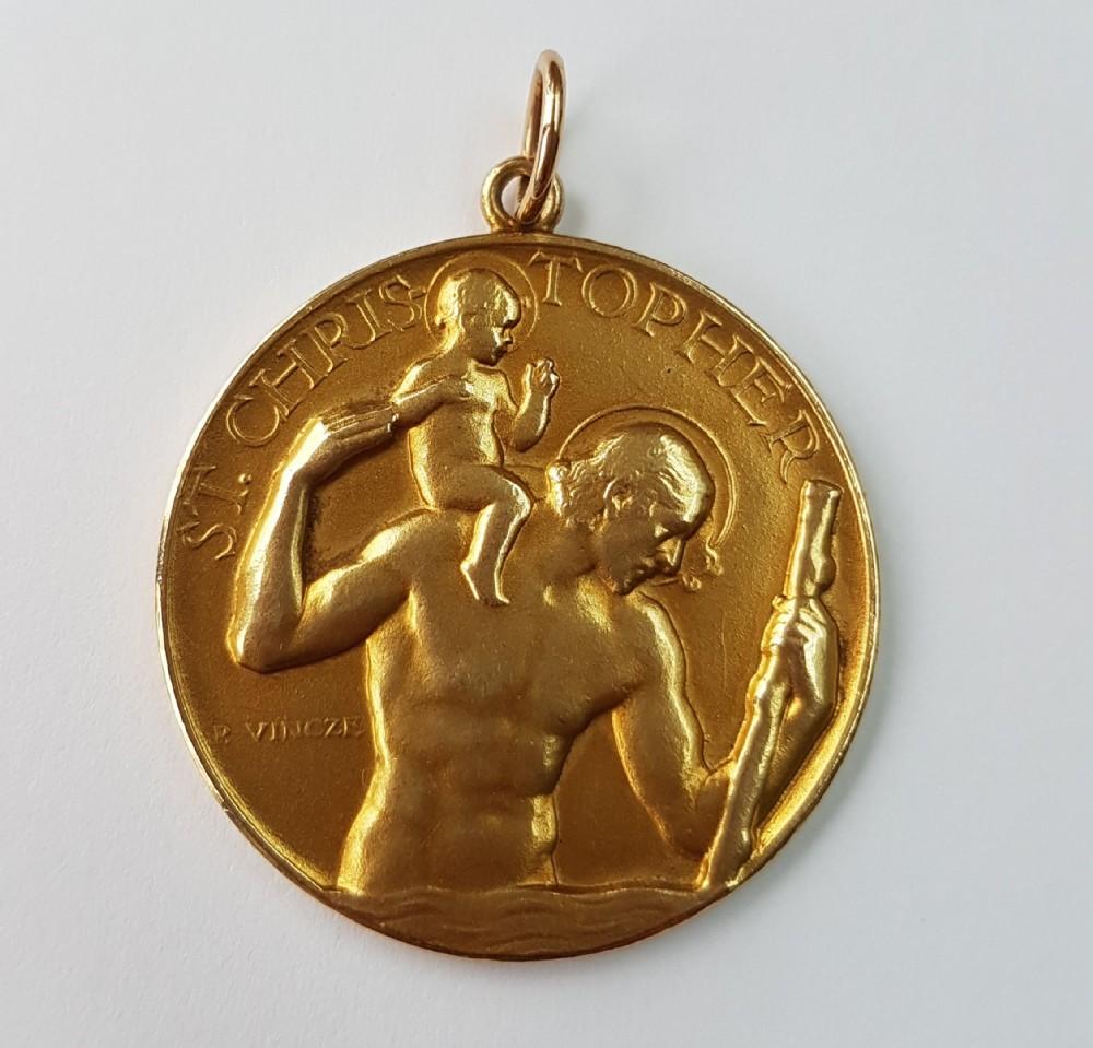 exquisite rare original paul vincze full size 33mm 9ct gold st christopher 122g