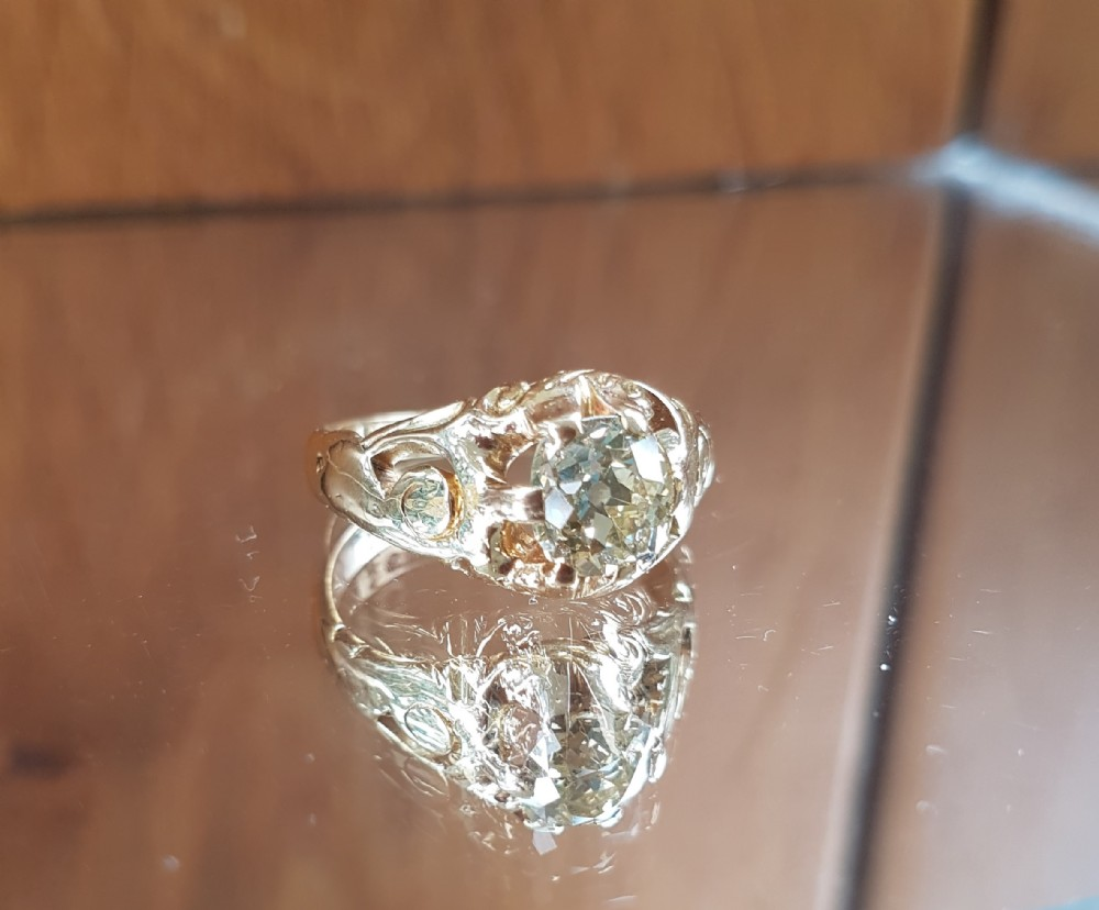 exquisite victorian 18ct gold 135ct old cut solitaire diamond ring free sizing