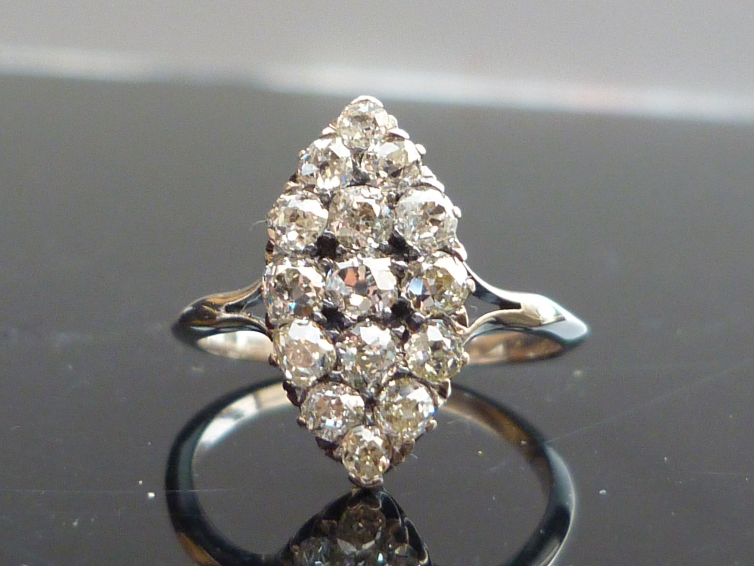 stunning 14ct white gold 19ct old cut diamond marquise cluster ring