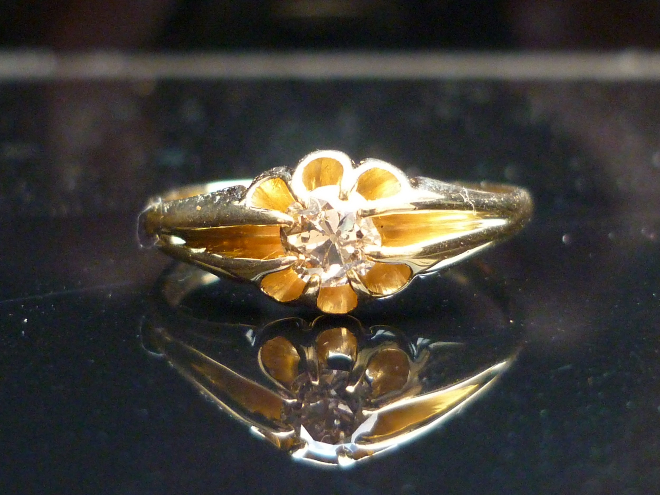 stunning edwardian 18ct gold old cut solitaire diamond ring free sizing