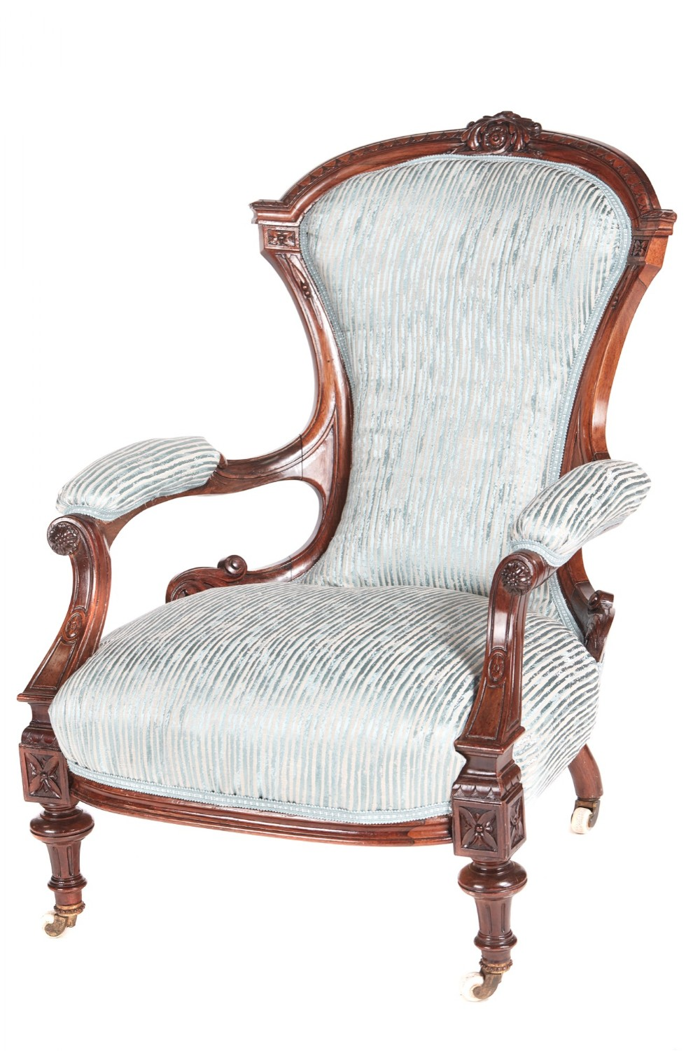 antique victorian carved rosewood armchair