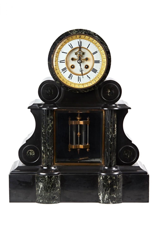 large fine quality victorian black slate marble mantel clock
